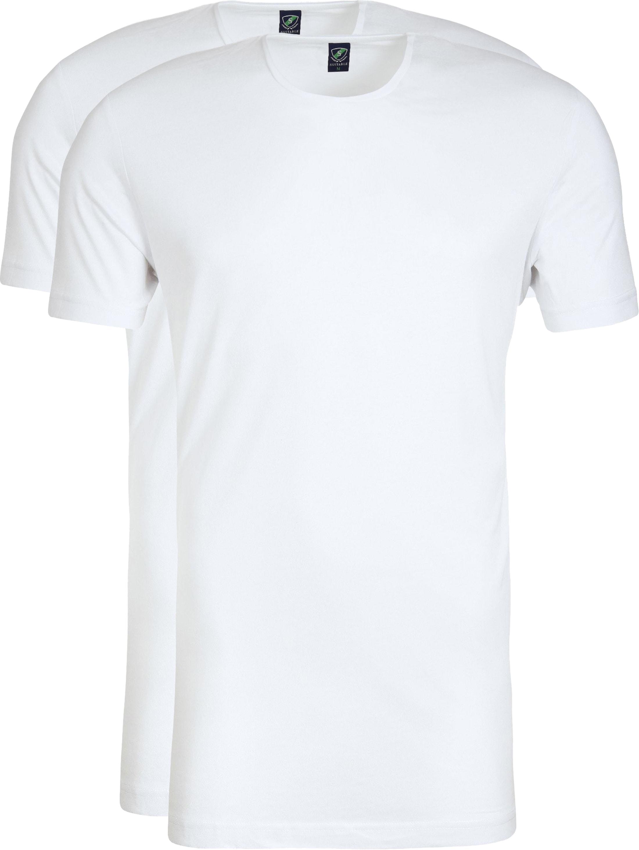 O-Ausschnitt 2er Pack Bambus T-Shirt Weiß