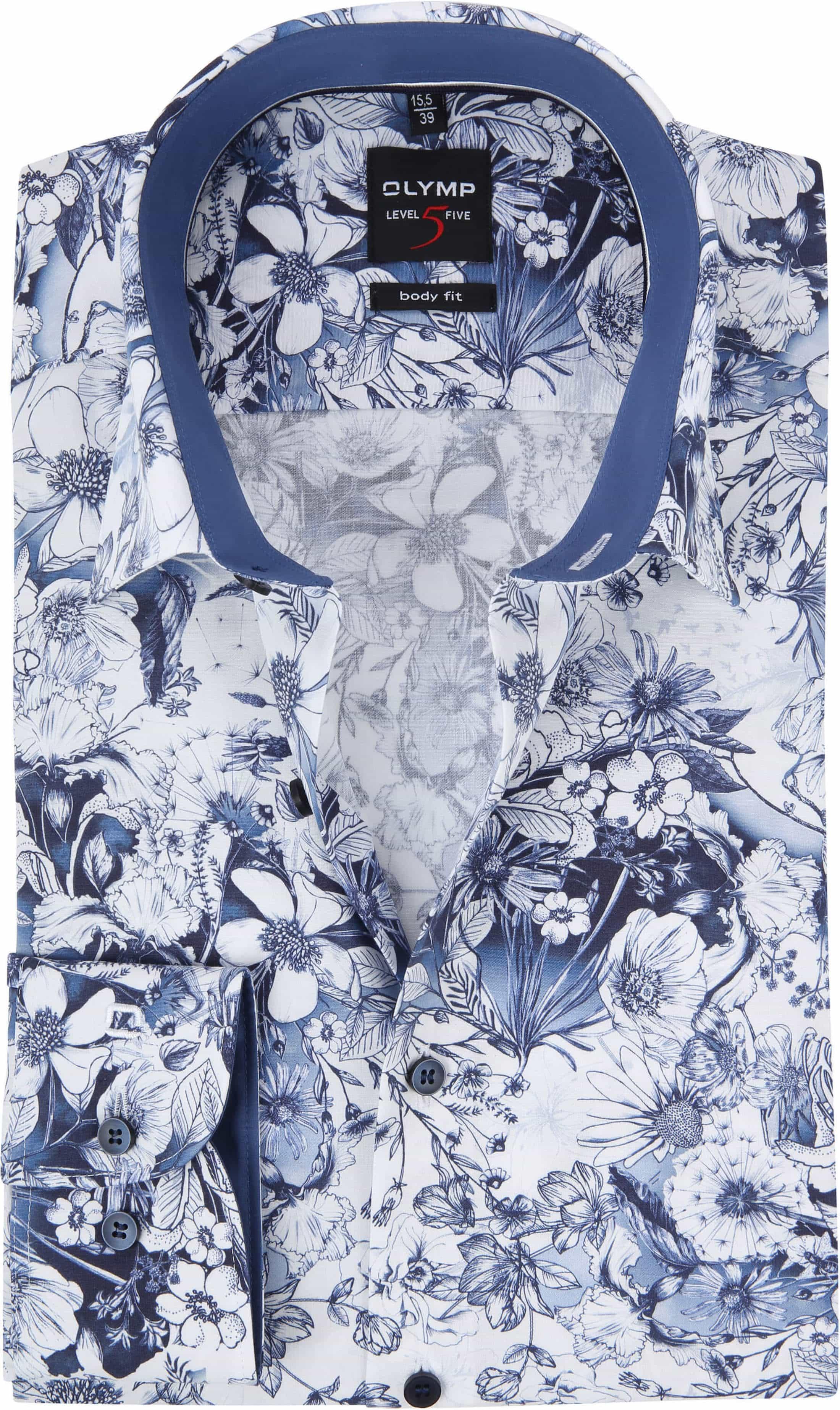 OLYMP Level Five Overhemd Blauw Bloemen foto 0