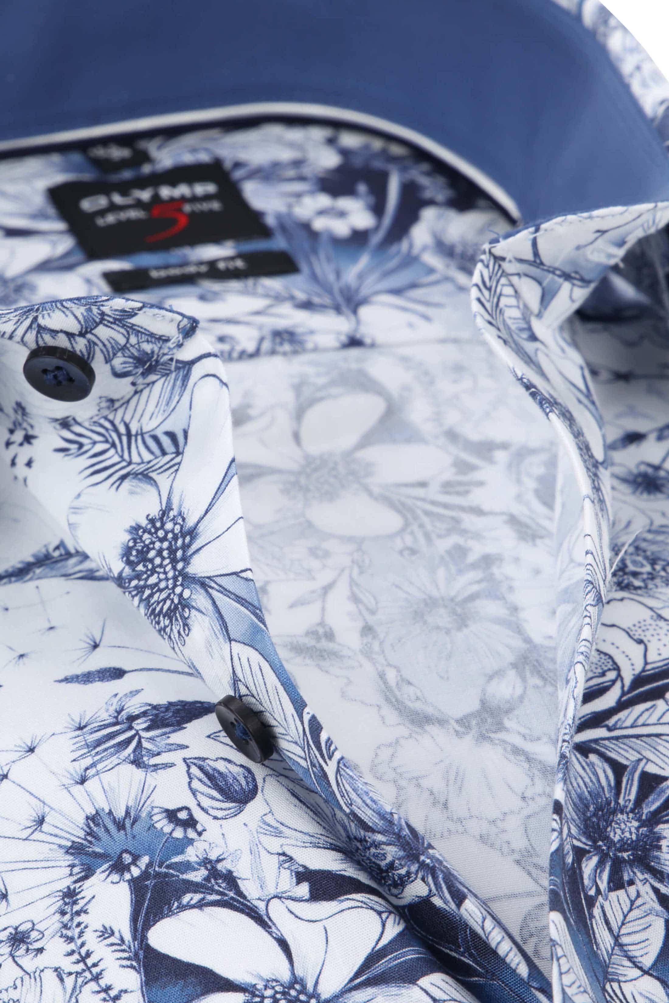 OLYMP Level Five Overhemd Blauw Bloemen foto 1
