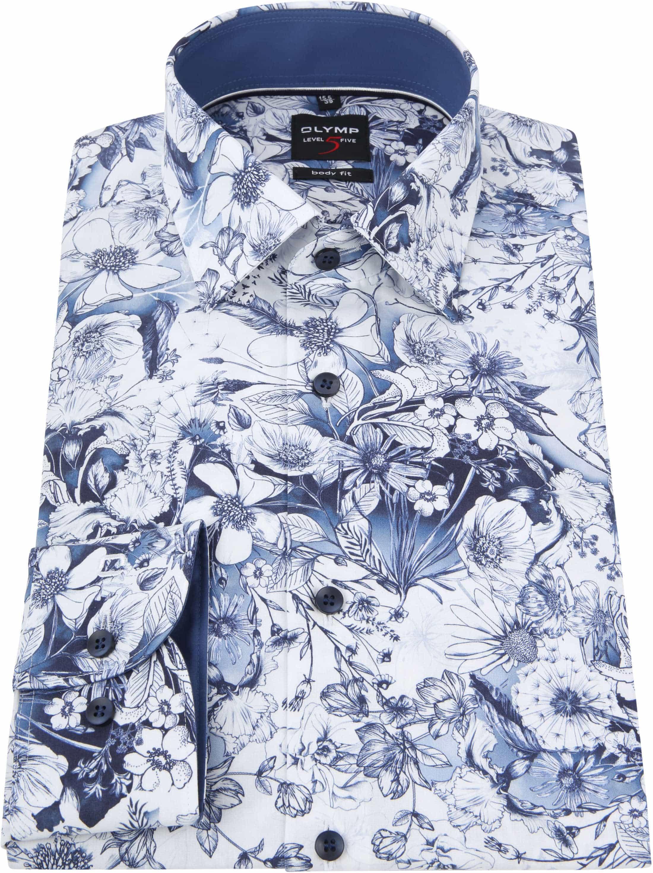 OLYMP Level Five Overhemd Blauw Bloemen foto 2