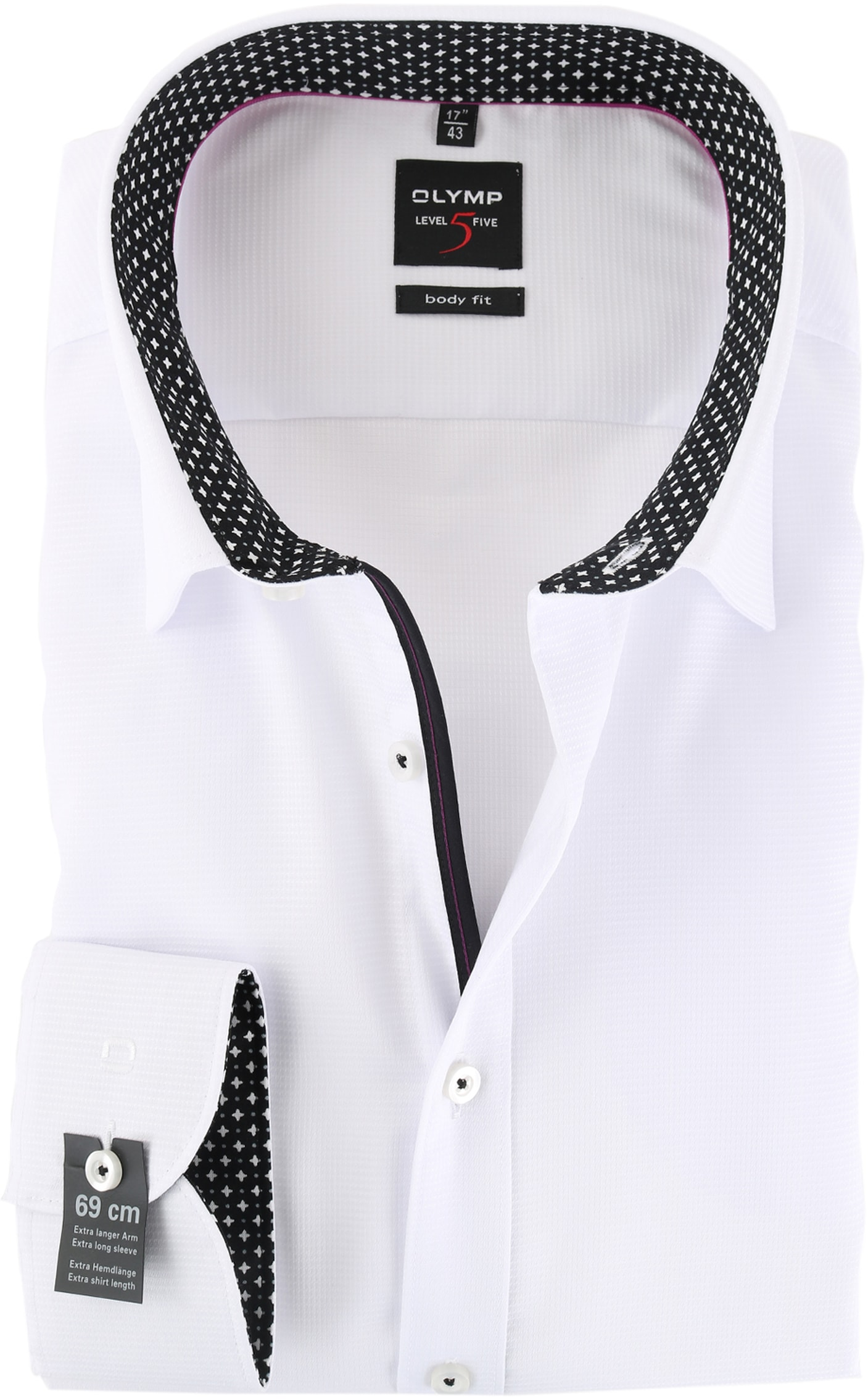 Overhemd Zwart Wit.Olymp Level Five Sl7 Overhemd Body Fit Wit Zwart 056369 Online