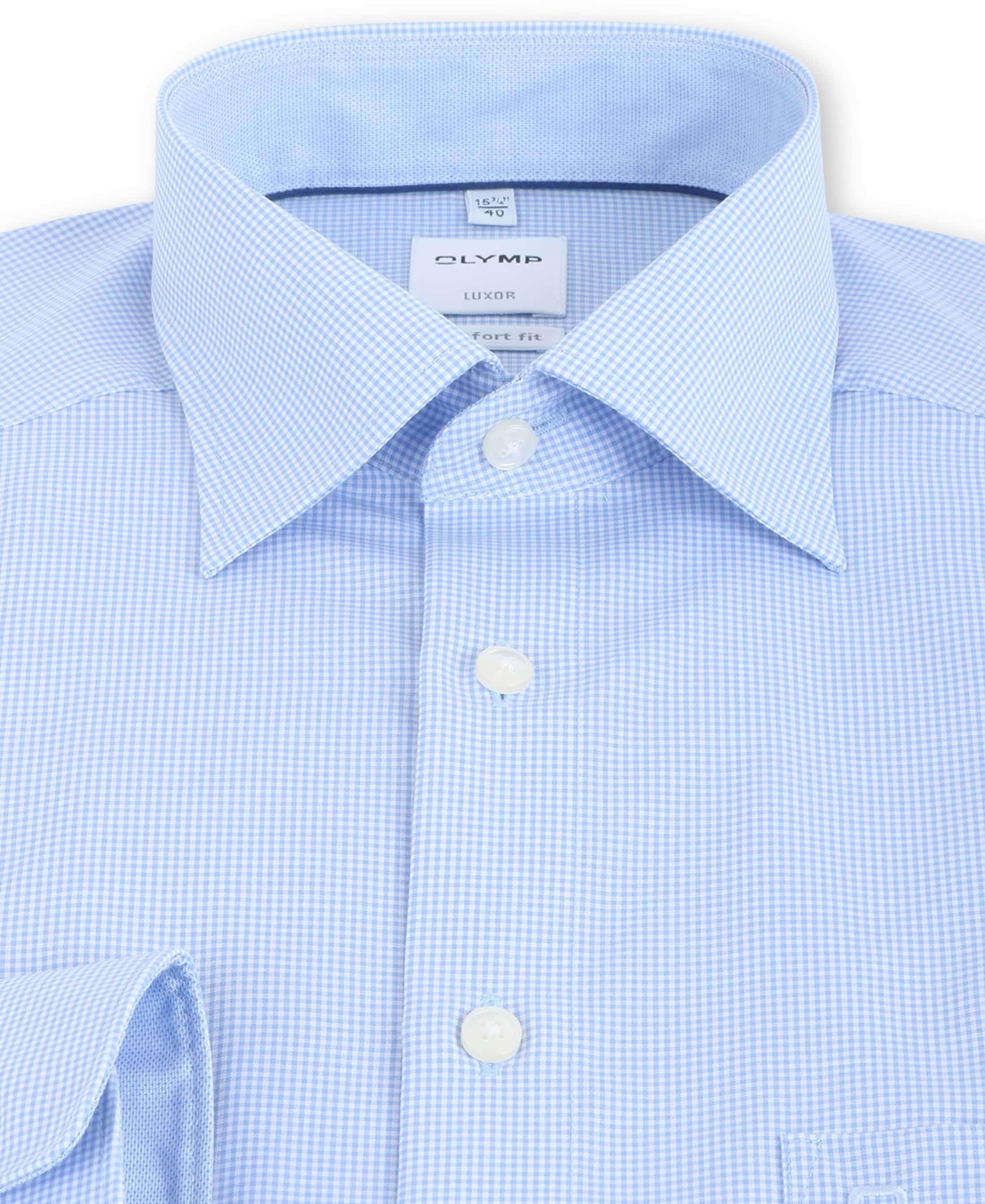 OLYMP Luxor Comfort Fit Shirt Blauw Ruit foto 2