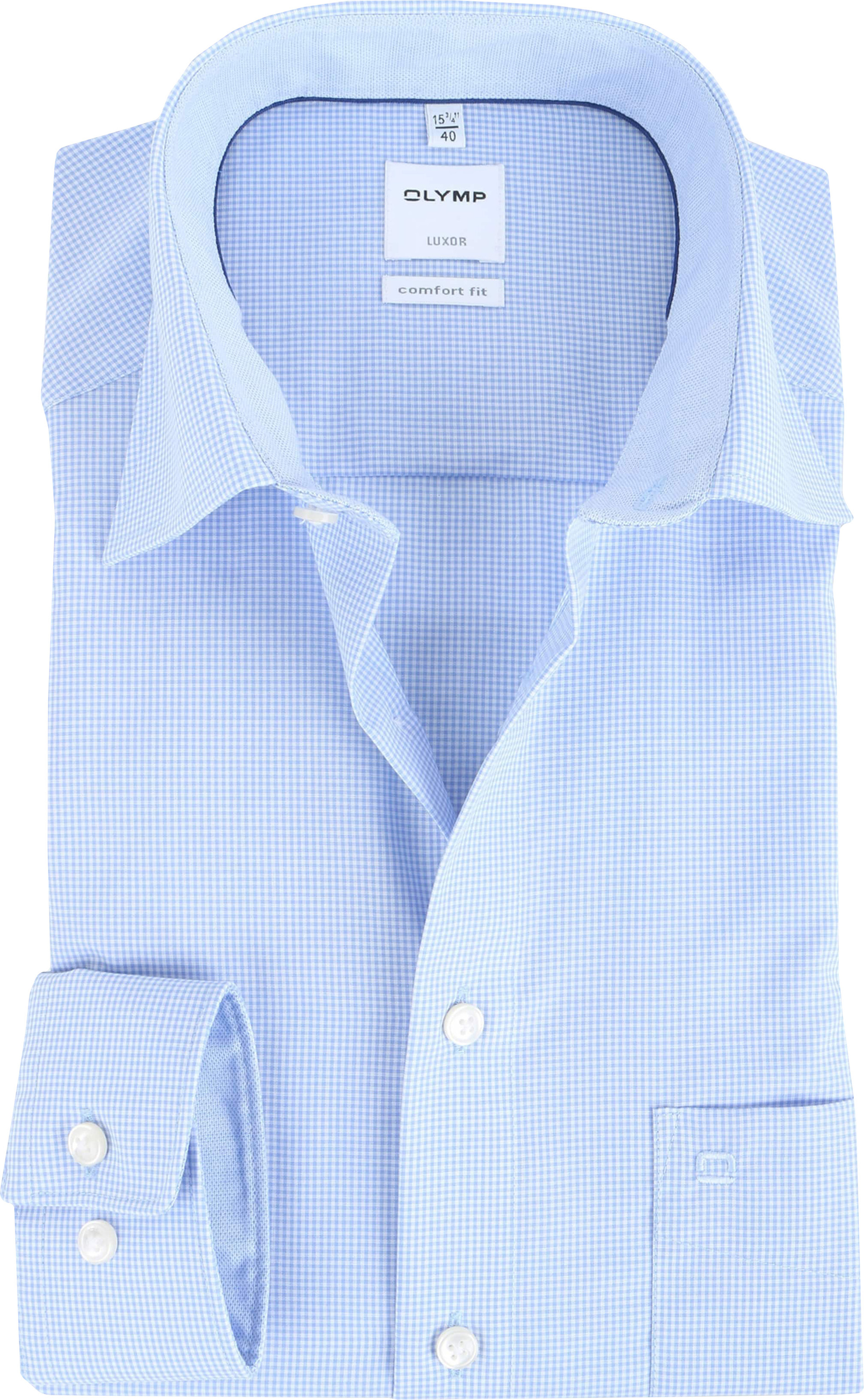OLYMP Luxor Comfort Fit Shirt Blauw Ruit foto 0