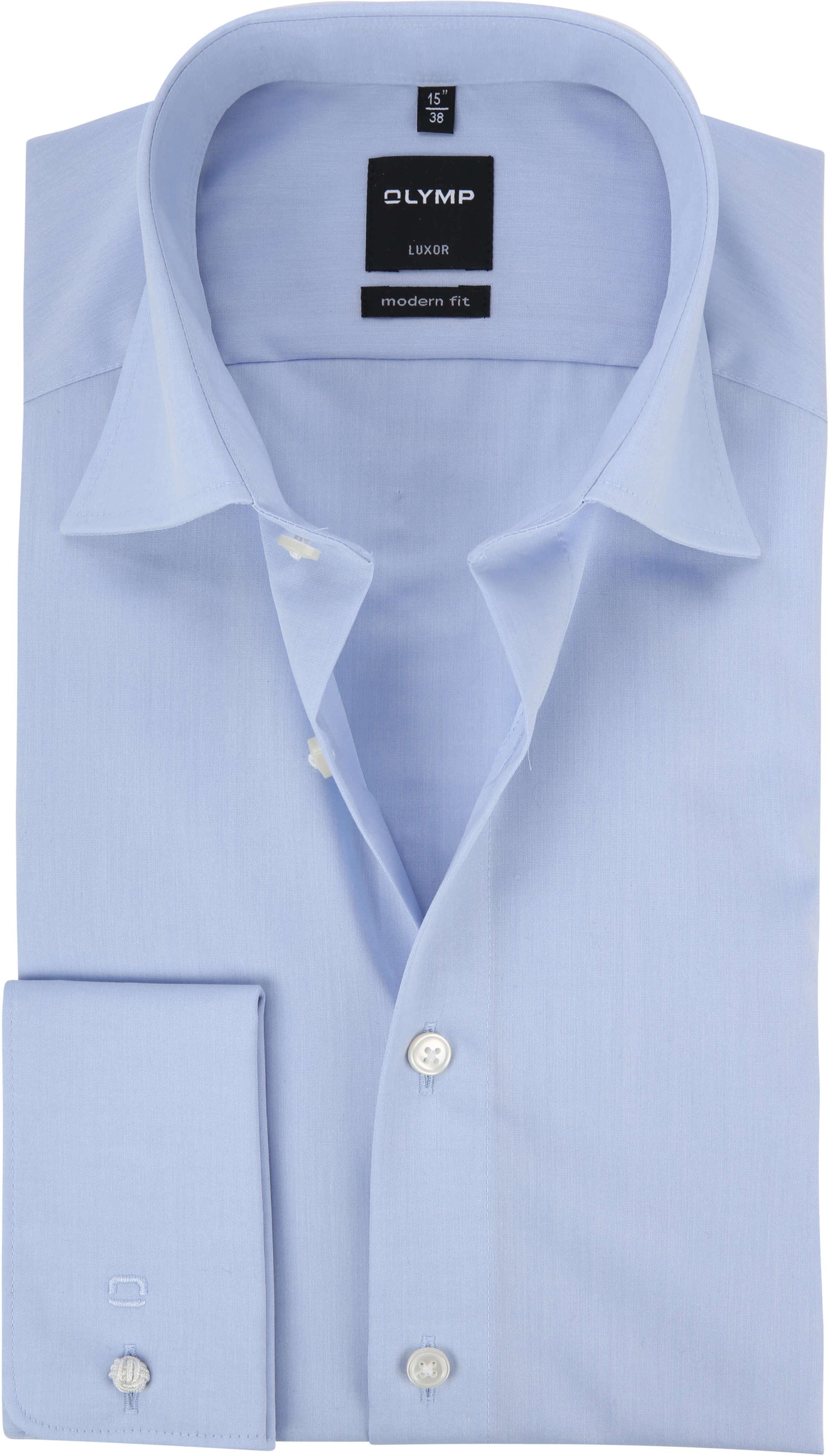 OLYMP Luxor Hemd Modern Fit Doppelmanschette Blau foto 0