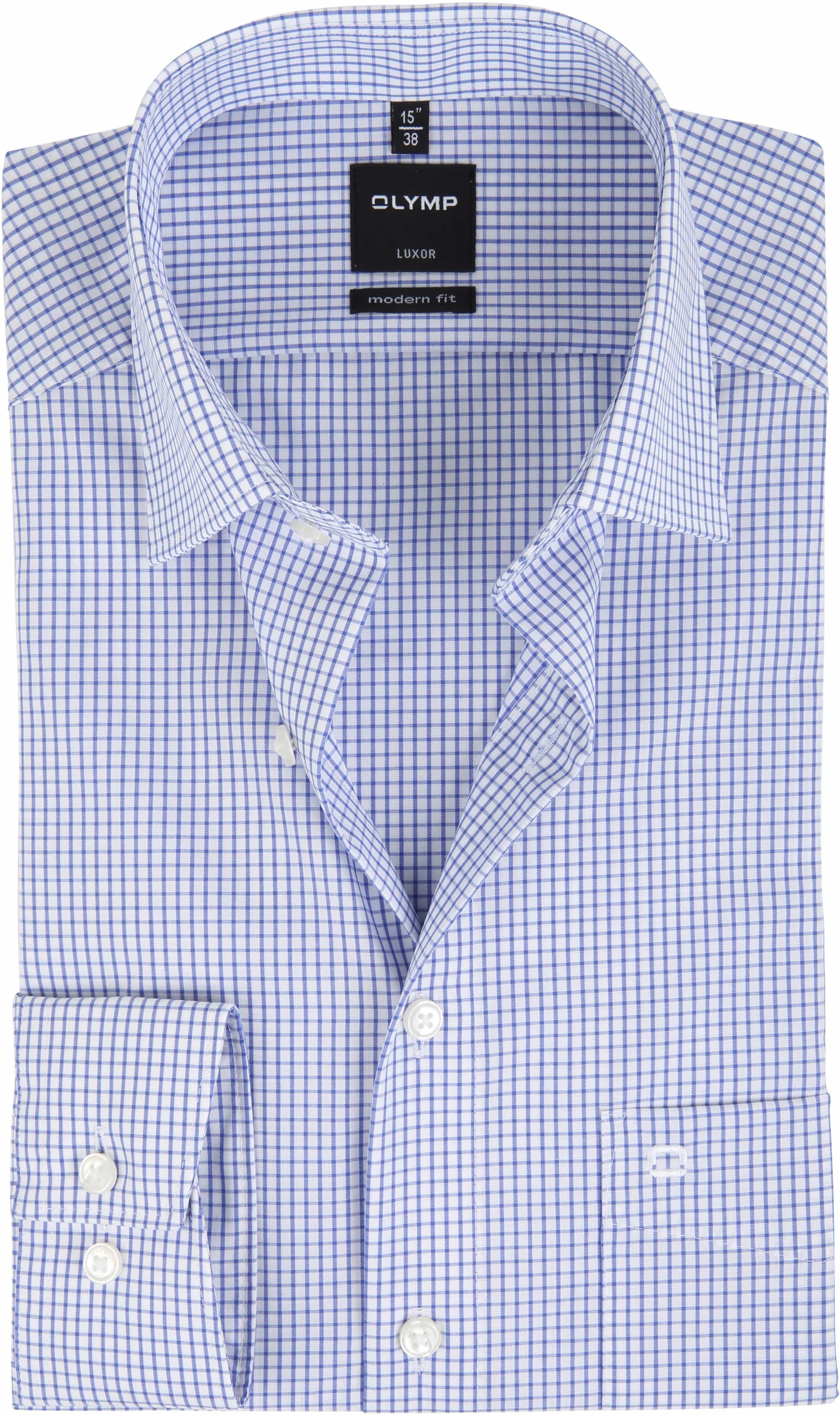 olymp luxor overhemd slim line blue check 032864. Black Bedroom Furniture Sets. Home Design Ideas