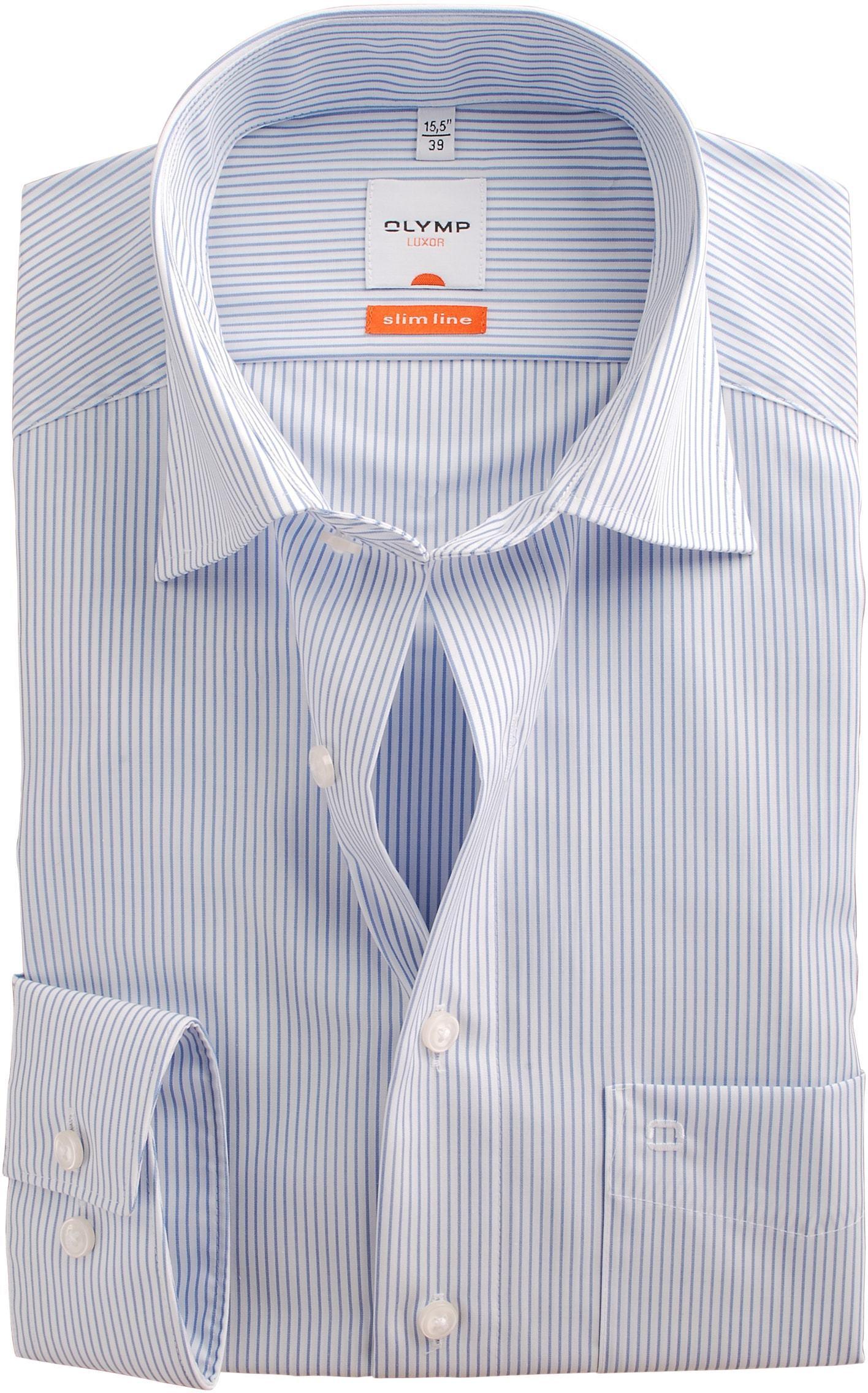 olymp luxor overhemd slim line wit blauw streep. Black Bedroom Furniture Sets. Home Design Ideas