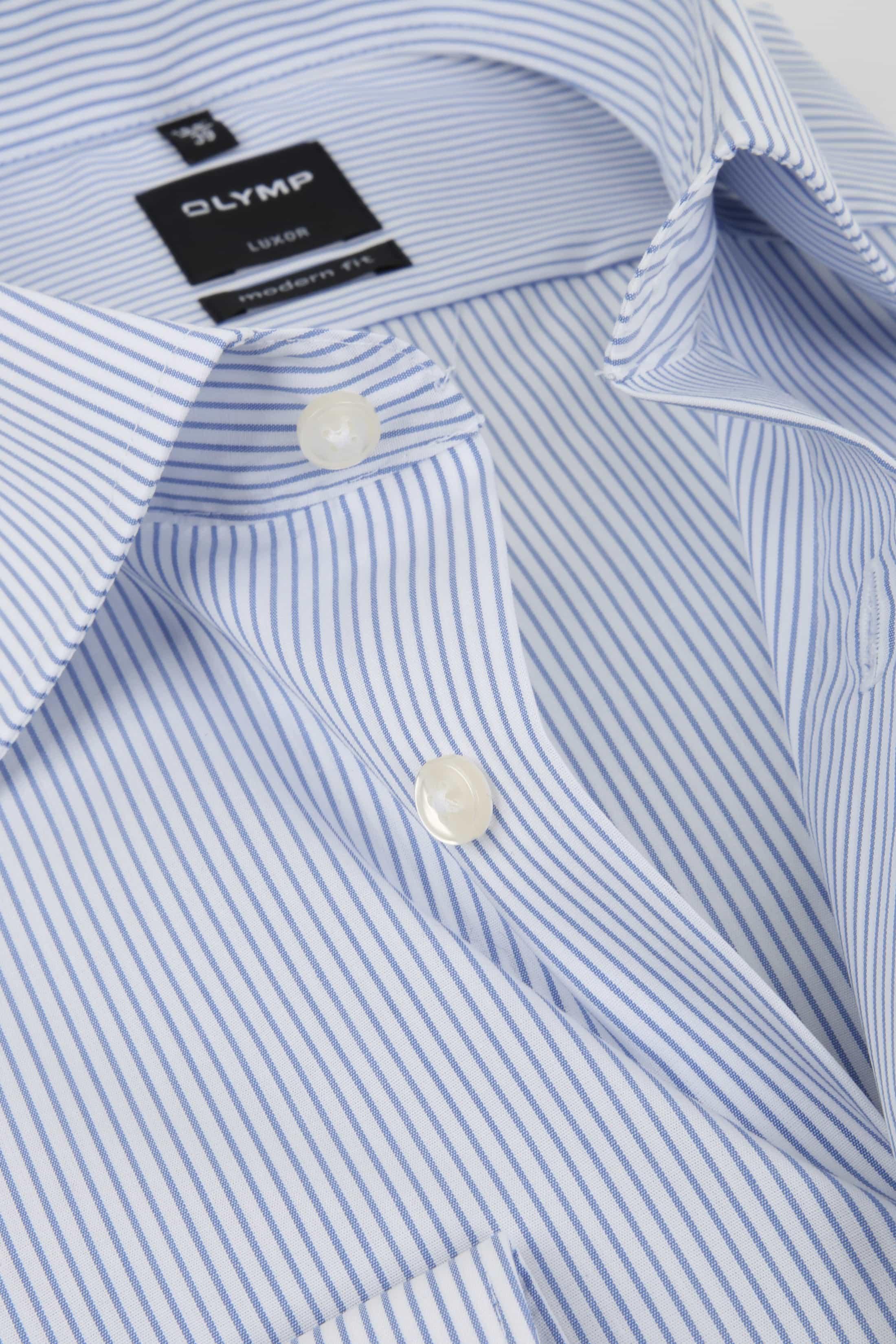 olymp luxor overhemd slim line wit blauw streep 033664. Black Bedroom Furniture Sets. Home Design Ideas