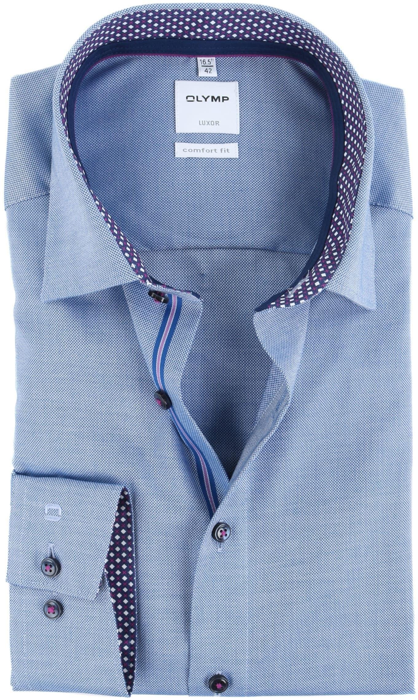 OLYMP Luxor Overhemd Strijkvrij Blauw Comfort Fit foto 0