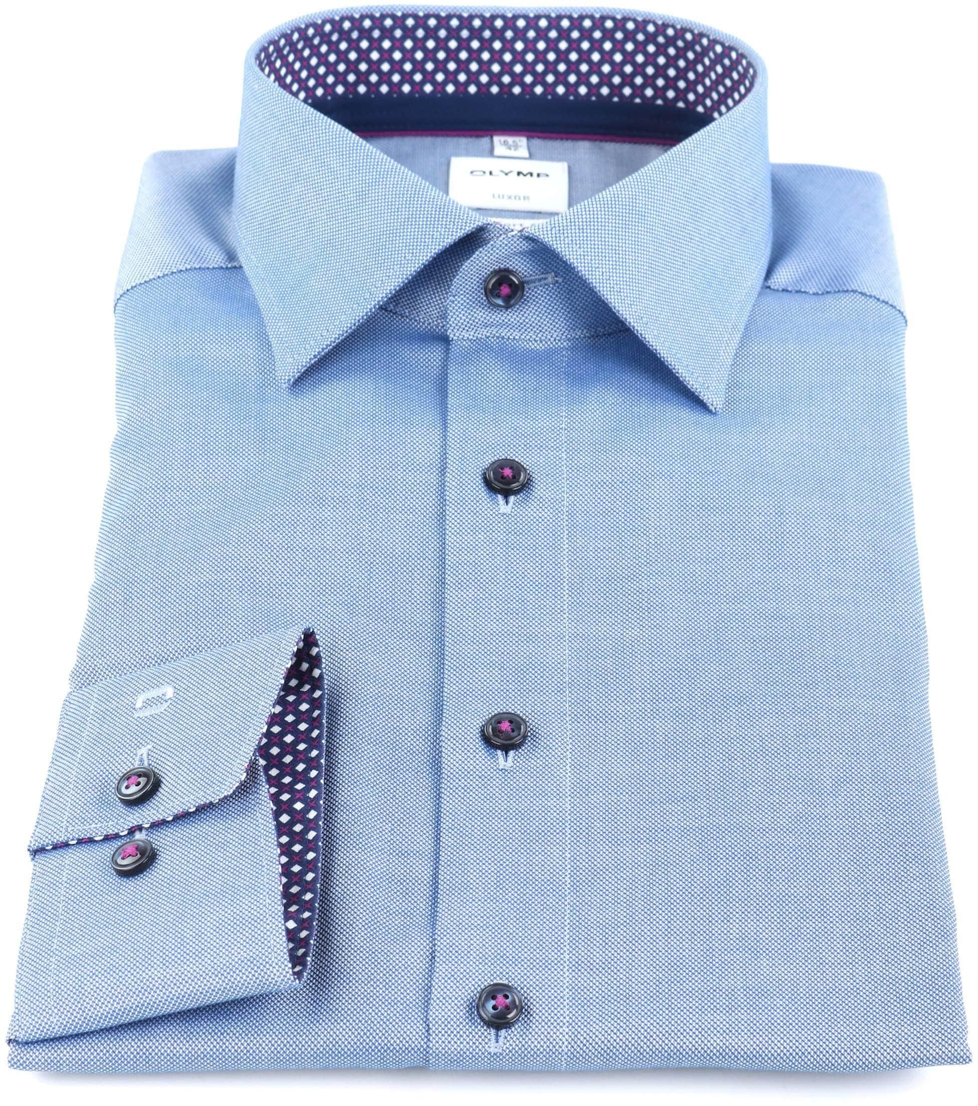OLYMP Luxor Overhemd Strijkvrij Blauw Comfort Fit foto 2