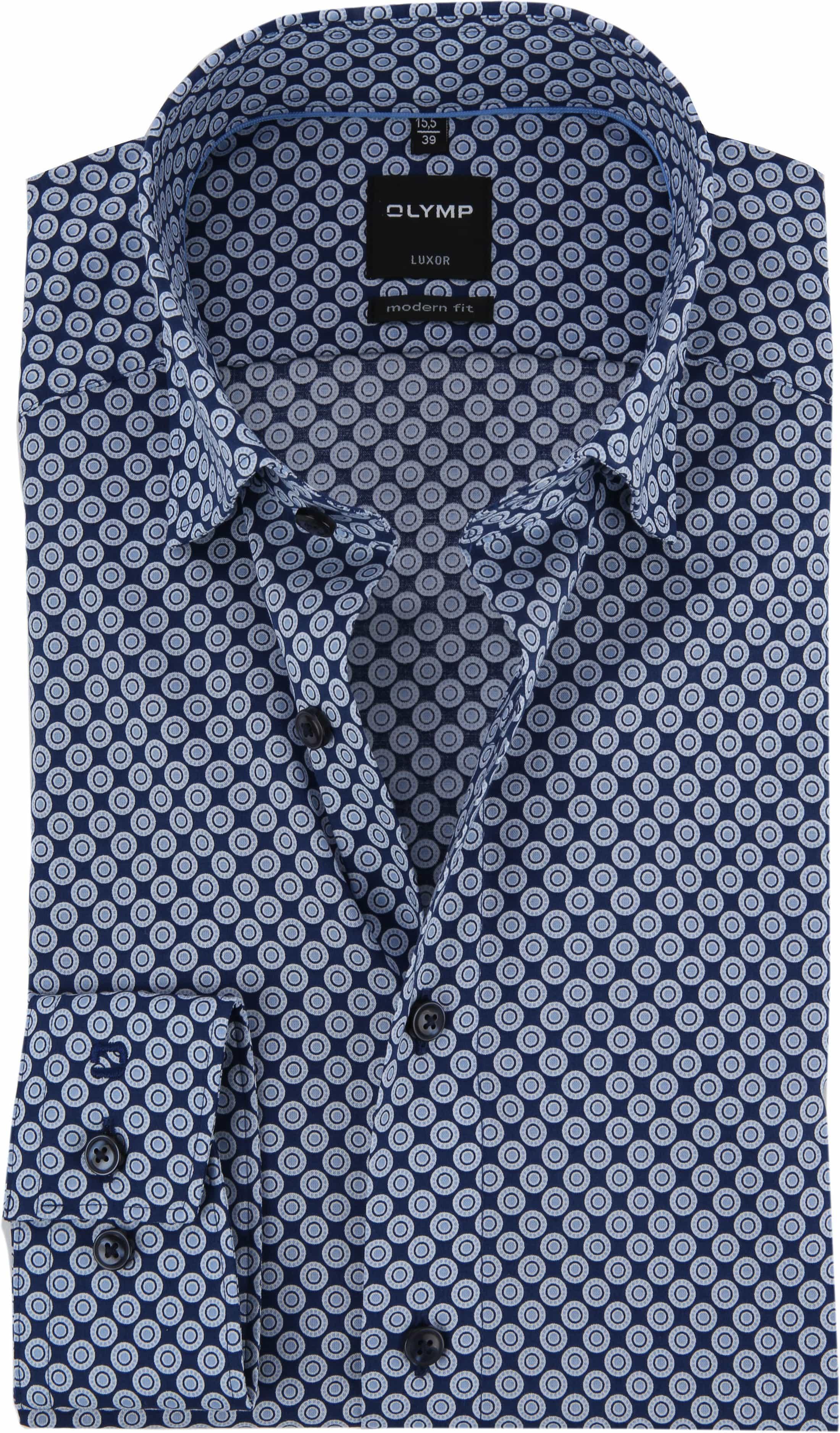 OLYMP Luxor Shirt Blue Dessin foto 0