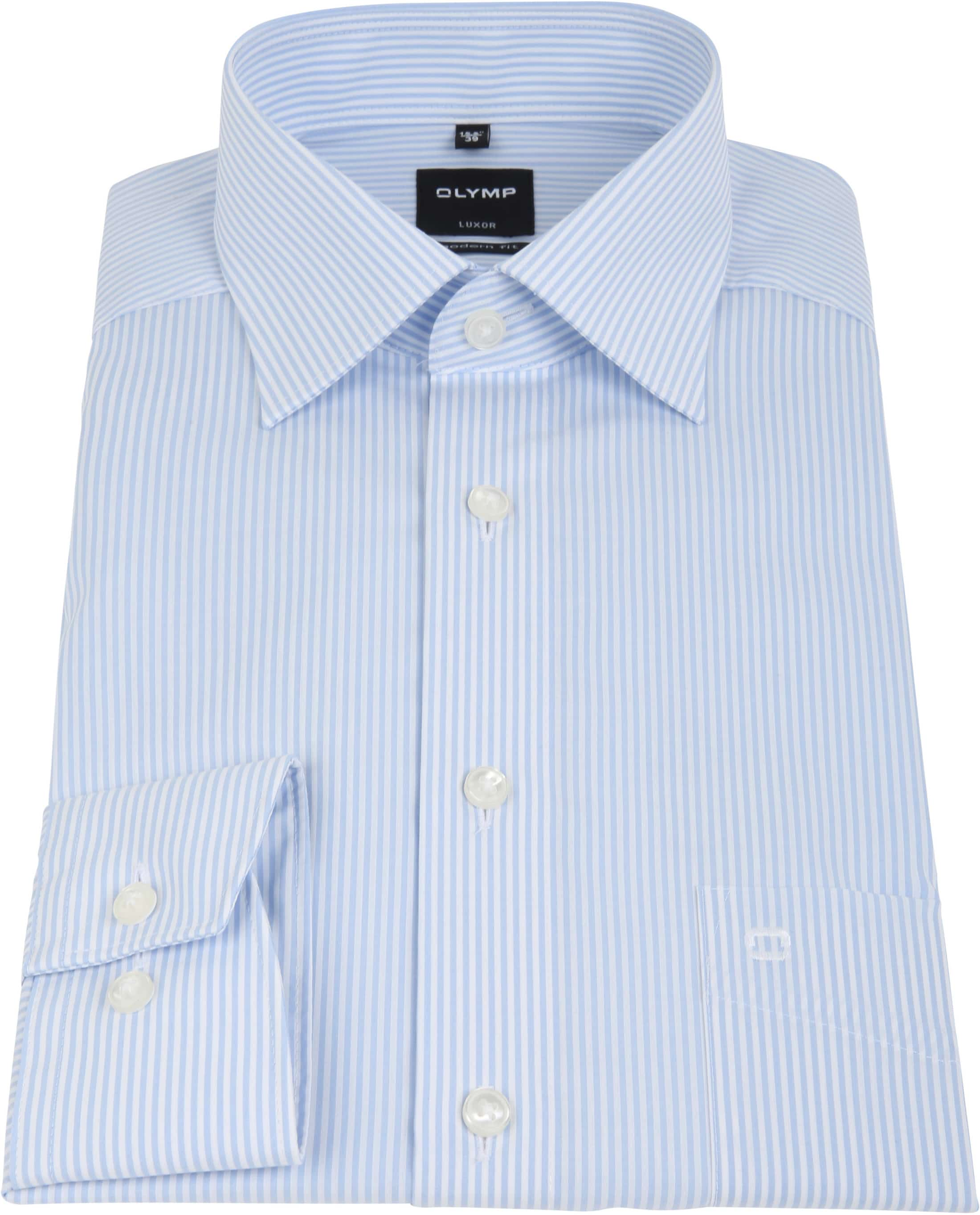 Olymp Luxor Shirt Light Blue Striped foto 2