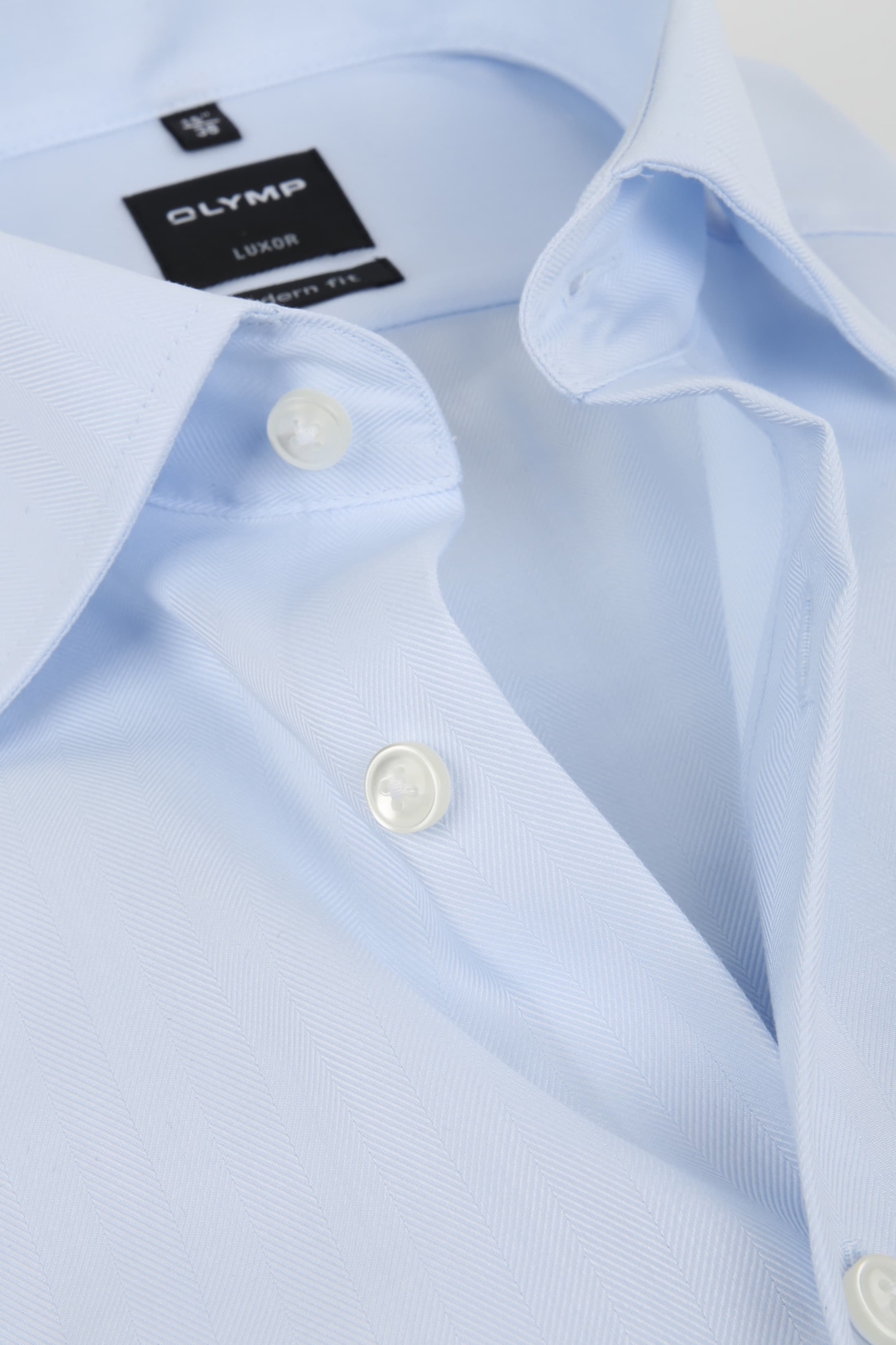 Olymp Luxor Shirt Slim Line Light Blue Herringbone