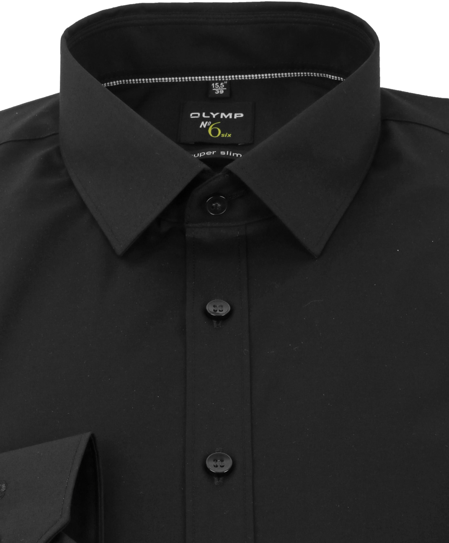 OLYMP No'6 six Super Slim Fit Overhemd Zwart foto 2