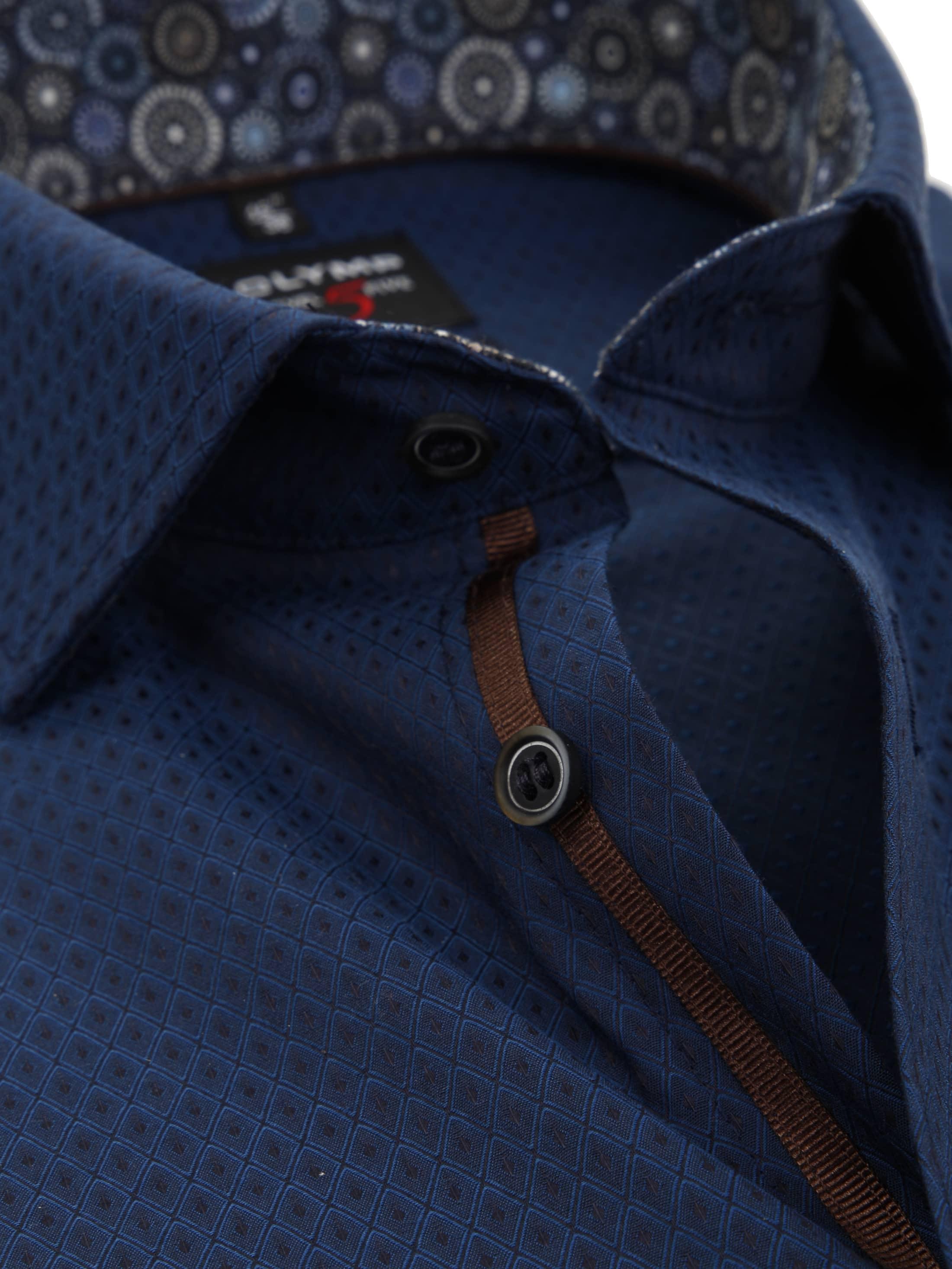 OLYMP Overhemd Level 5 BF Checks Navy foto 1