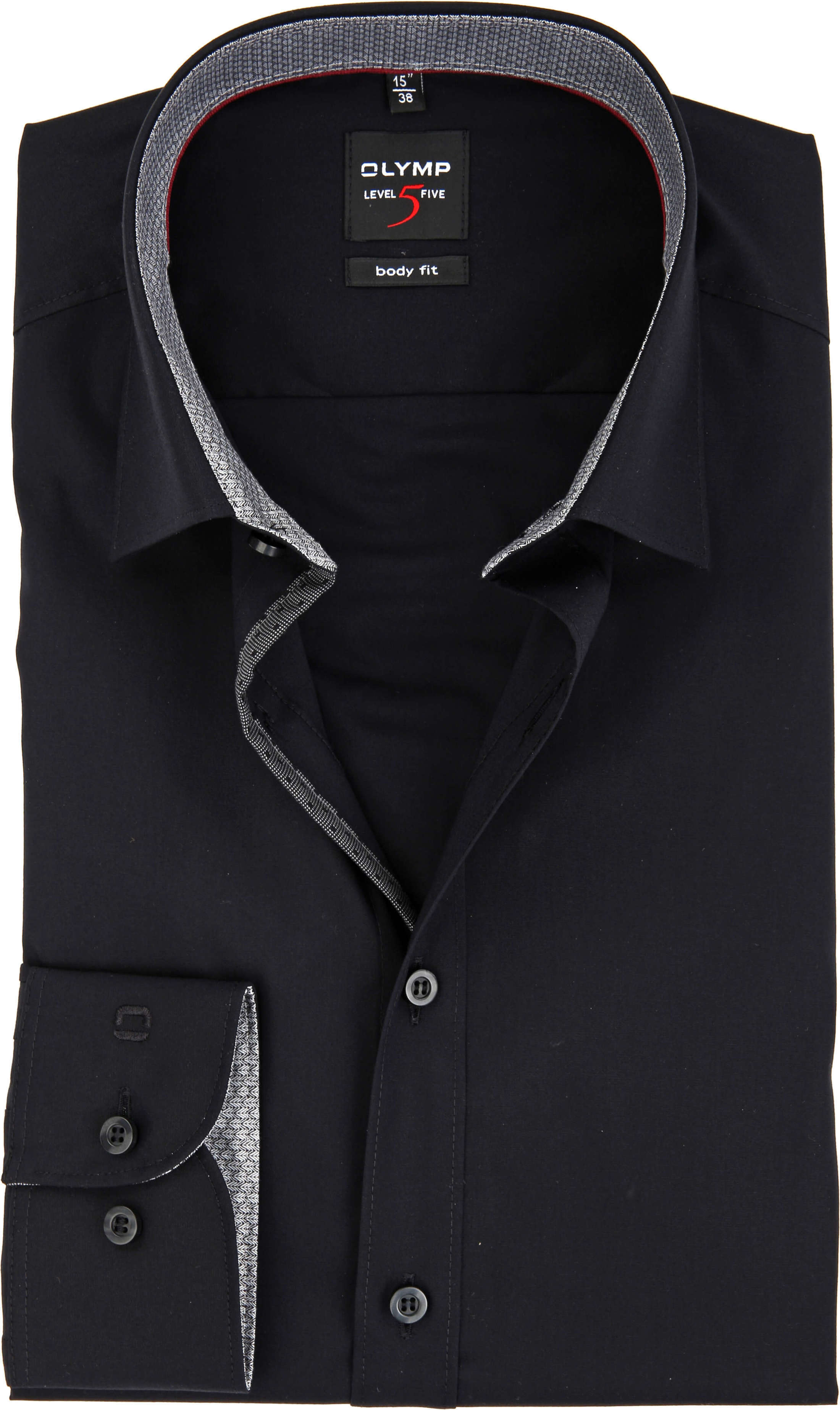 OLYMP Overhemd Level 5 Body Fit Zwart foto 0