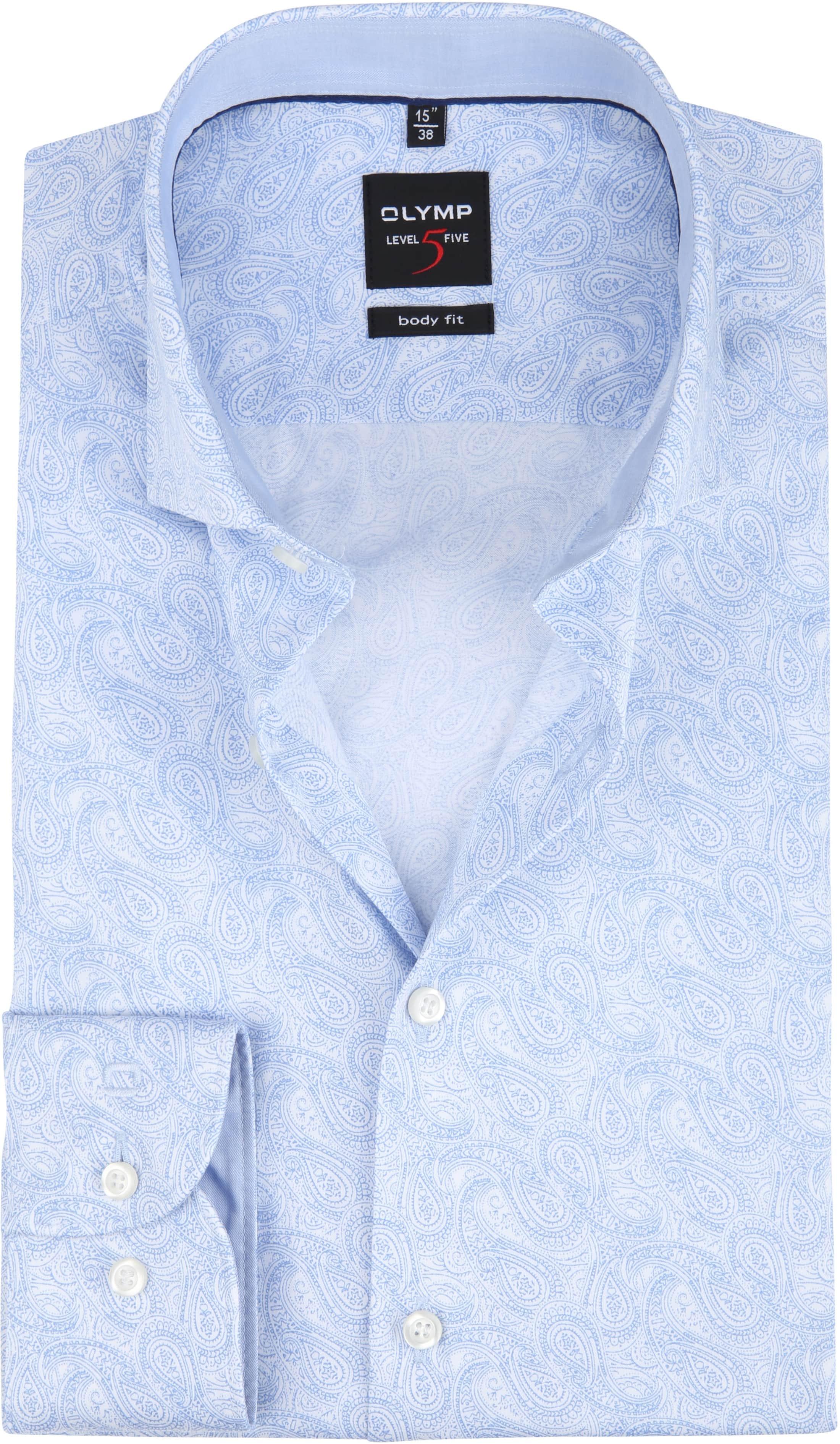 OLYMP Overhemd Level 5 Paisley Blauw foto 0
