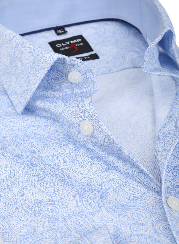 OLYMP Overhemd Level 5 Paisley Blauw foto 1