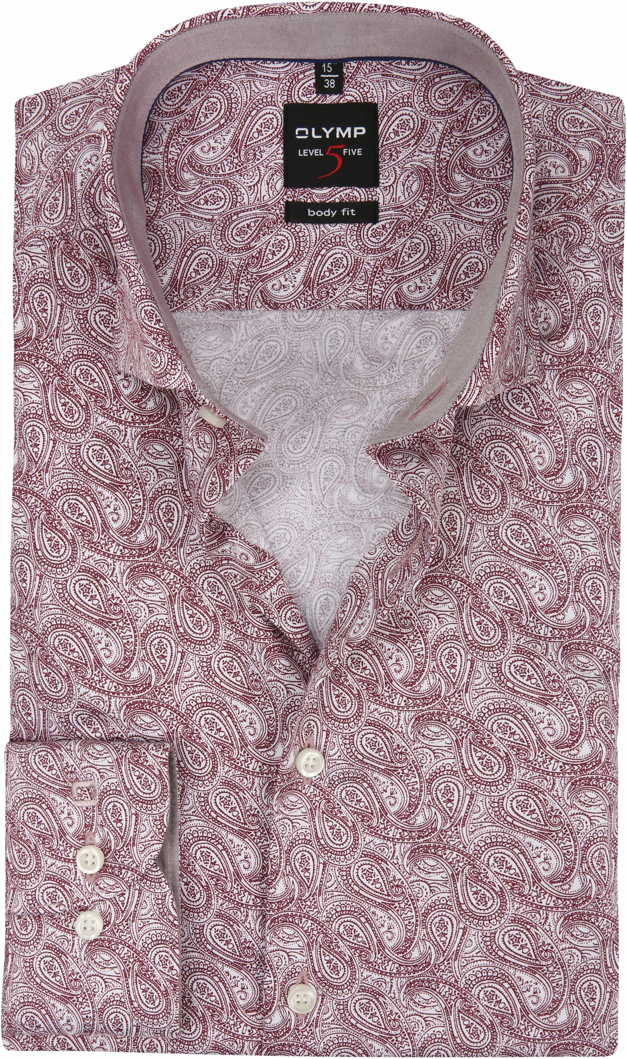 Bordeaux Overhemd.Olymp Overhemd Level 5 Paisley Bordeaux 204624 Online Bestellen