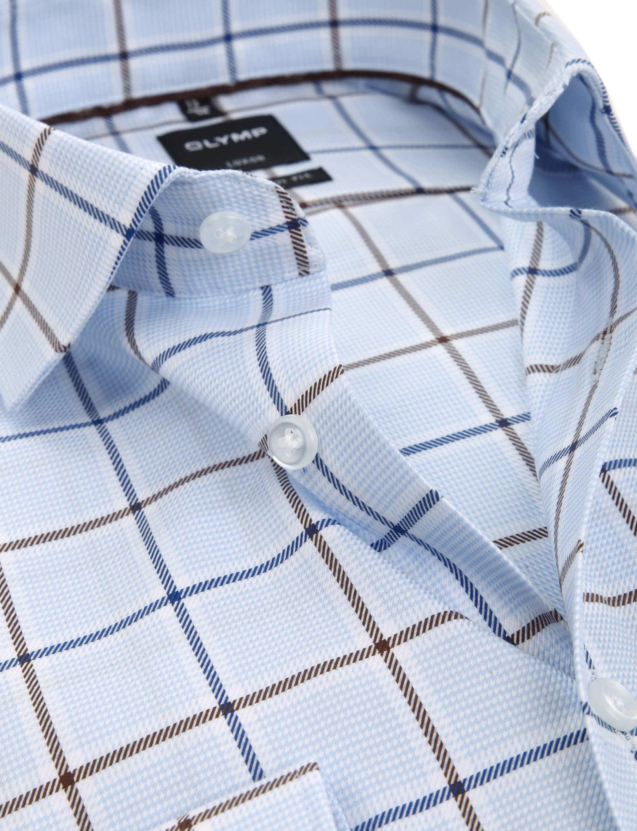 OLYMP Overhemd LuxorMF Ruit Lichtblauw foto 1