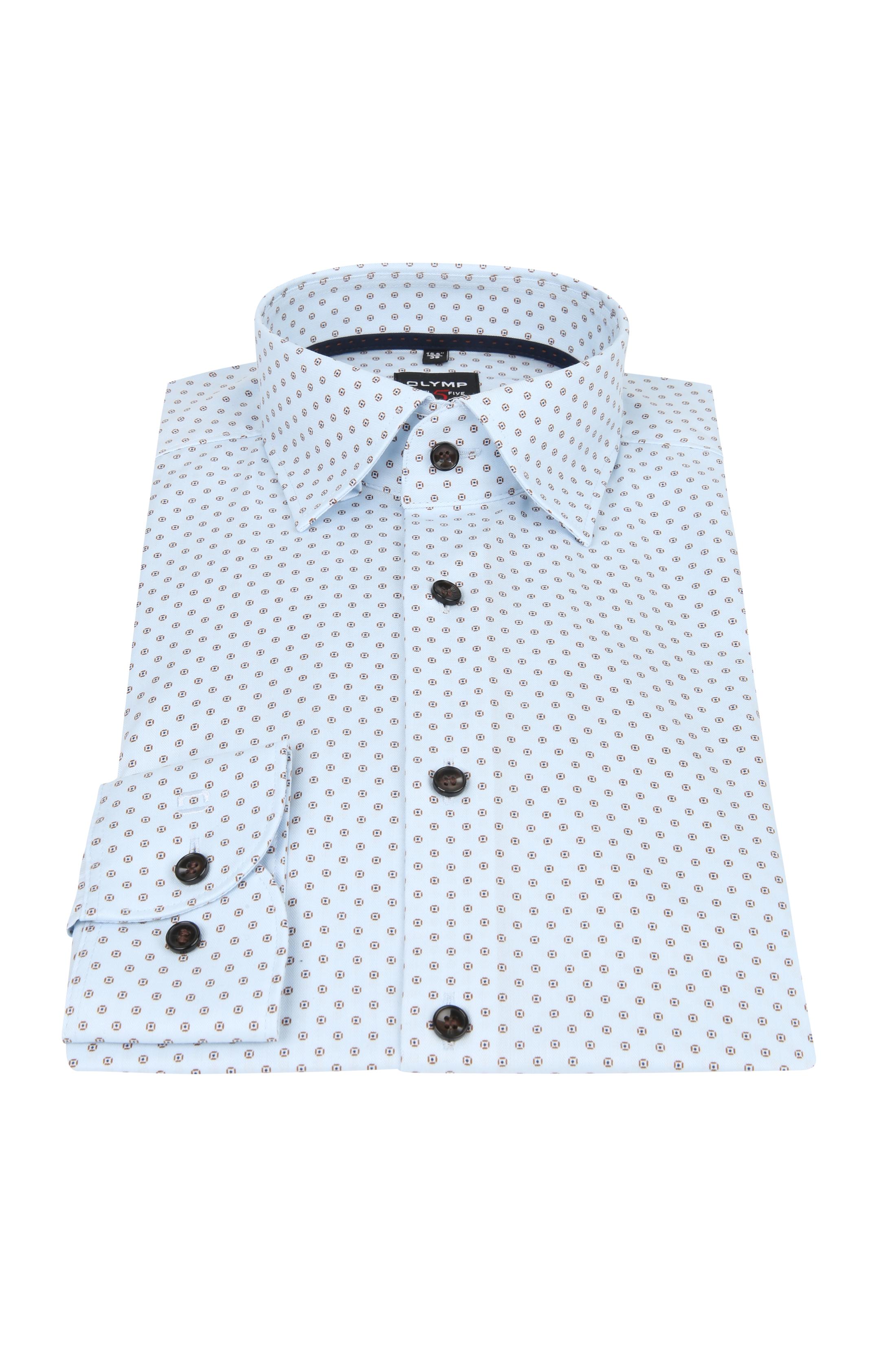OLYMP Overhemd Lvl 5 Dessin Blauw