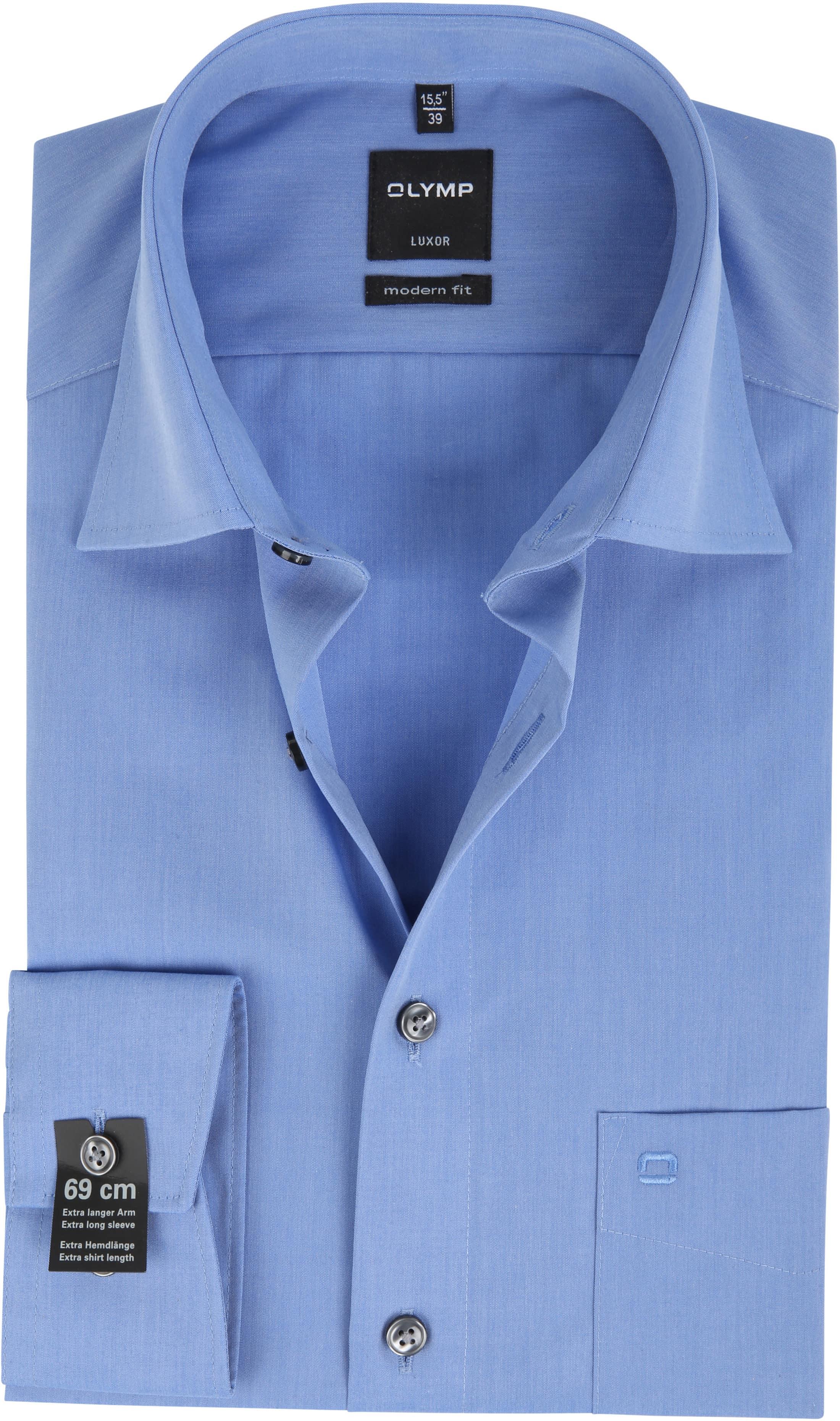 OLYMP Overhemd SL7 Blauw Chambray foto 0