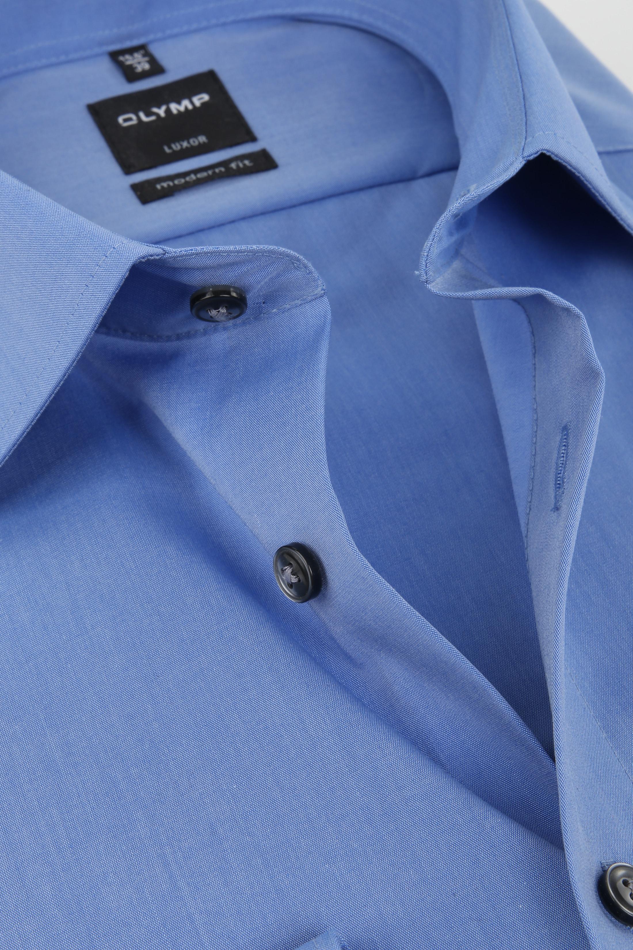 OLYMP Overhemd SL7 Blauw Chambray foto 1