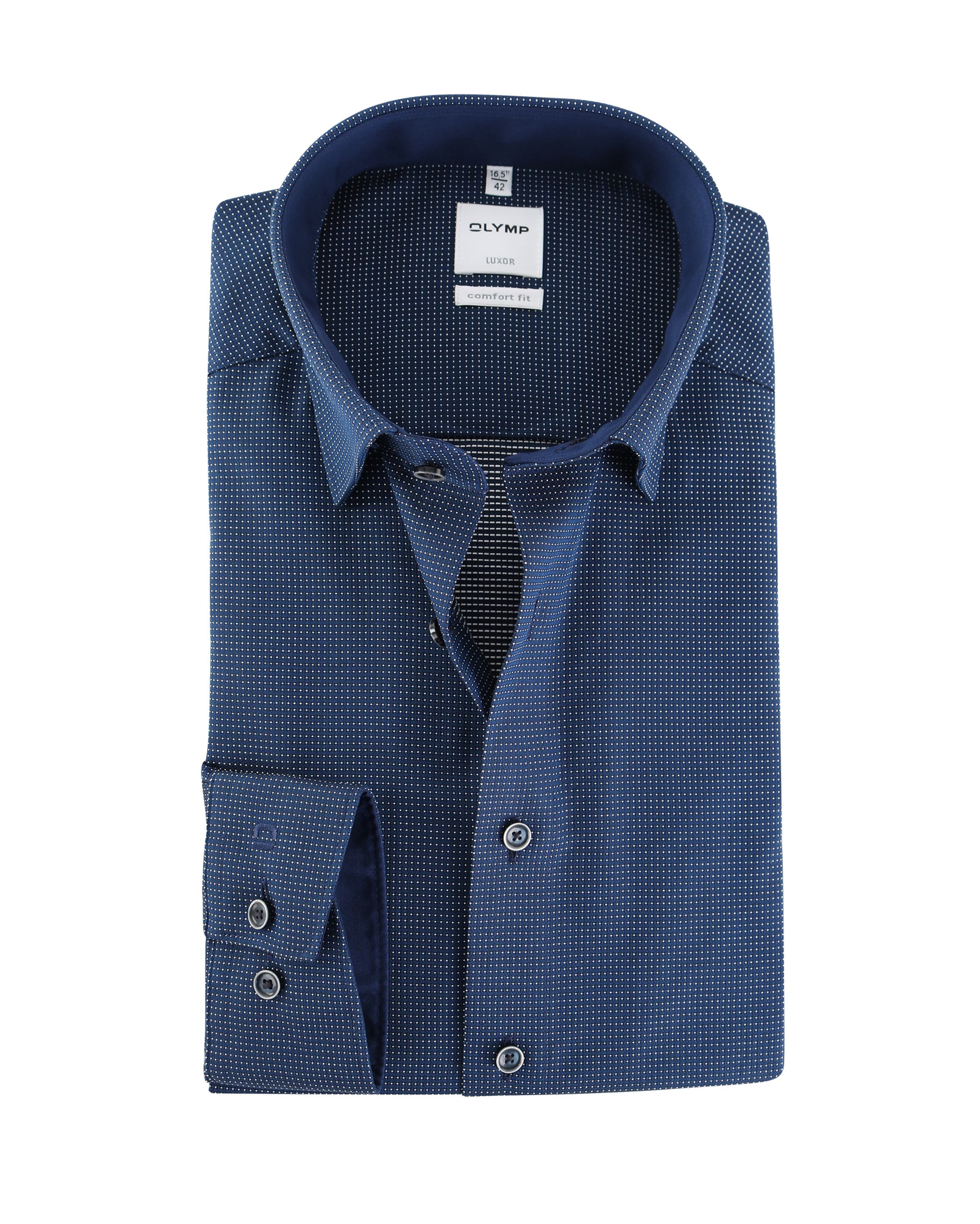 OLYMP Strijkvrij Comfort Fit Overhemd Pinpoint Blauw