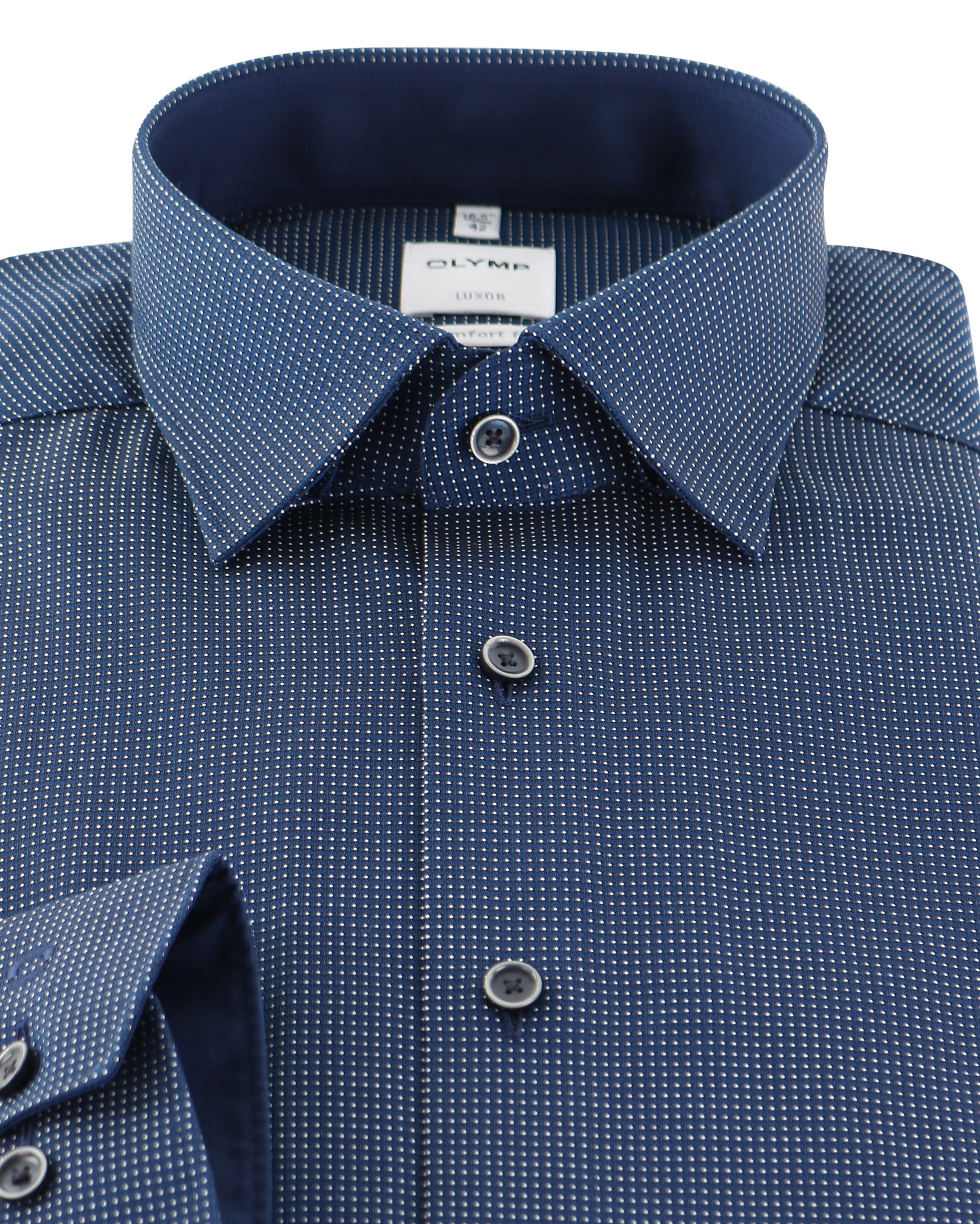 OLYMP Strijkvrij Comfort Fit Overhemd Pinpoint Blauw foto 1