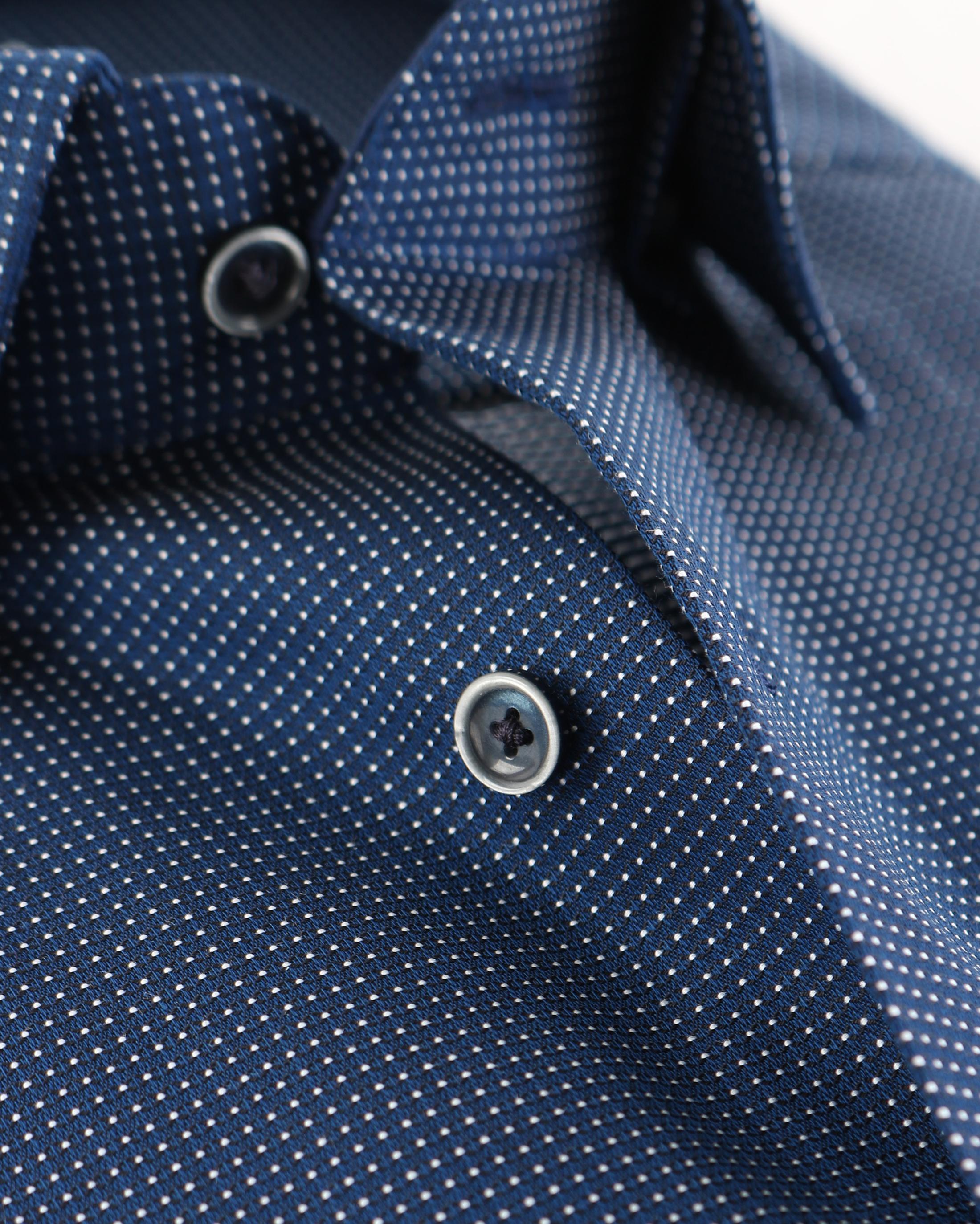 OLYMP Strijkvrij Comfort Fit Overhemd Pinpoint Blauw foto 3