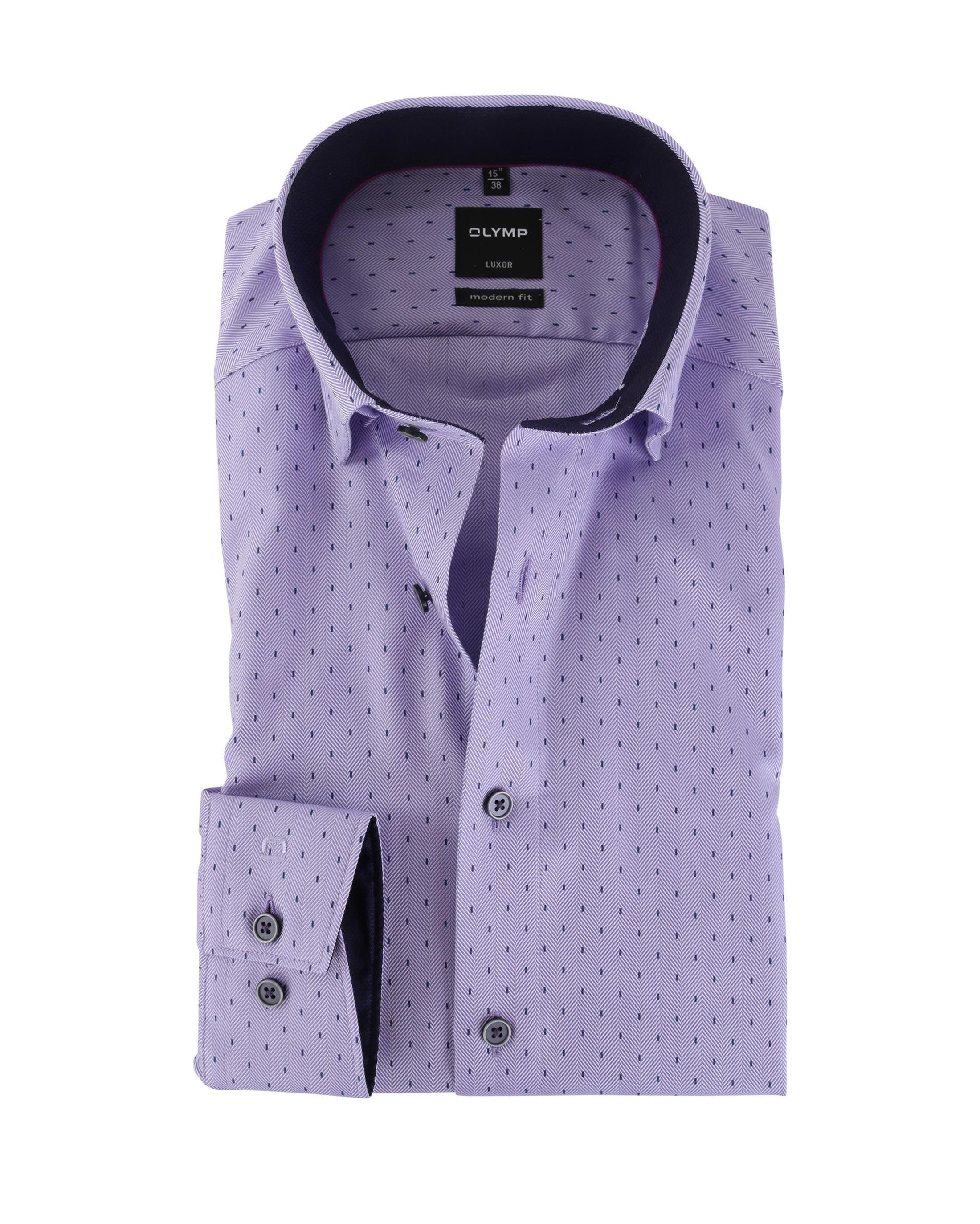 olymp strijkvrij overhemd modern fit paars visgraat online. Black Bedroom Furniture Sets. Home Design Ideas