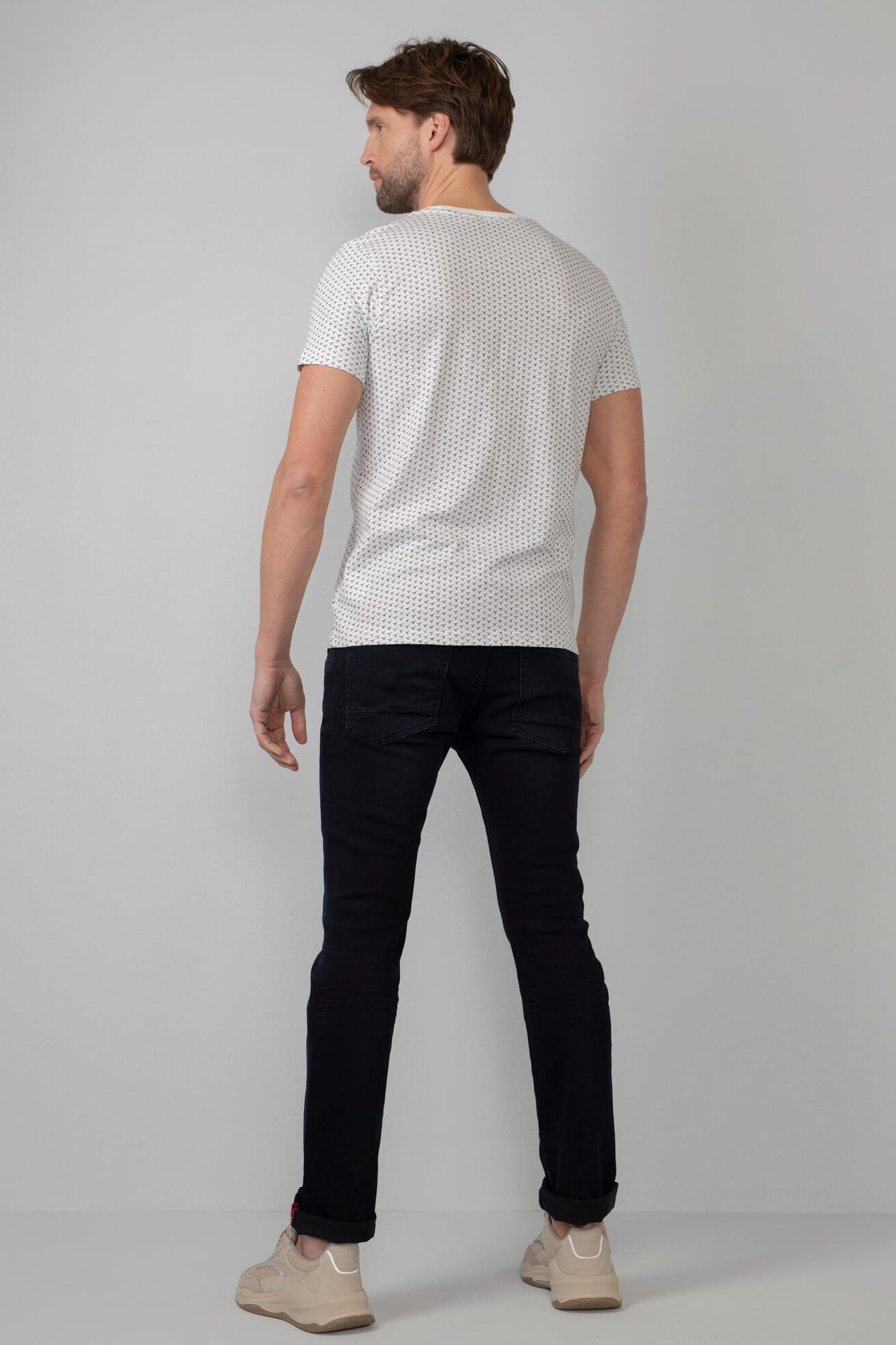 Petrol T-Shirt Patroon Wit