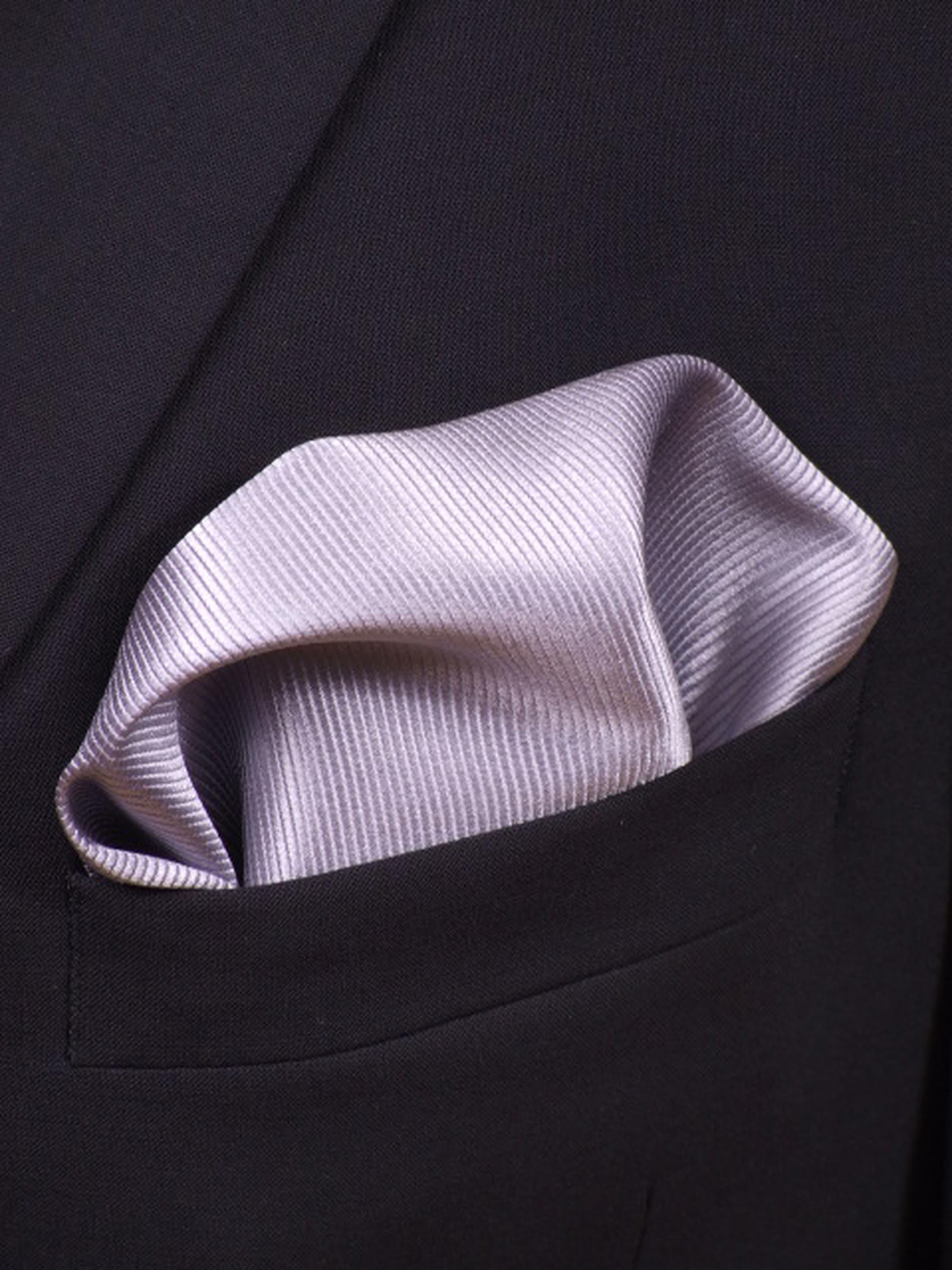 Pocket Square Silk Silver F48