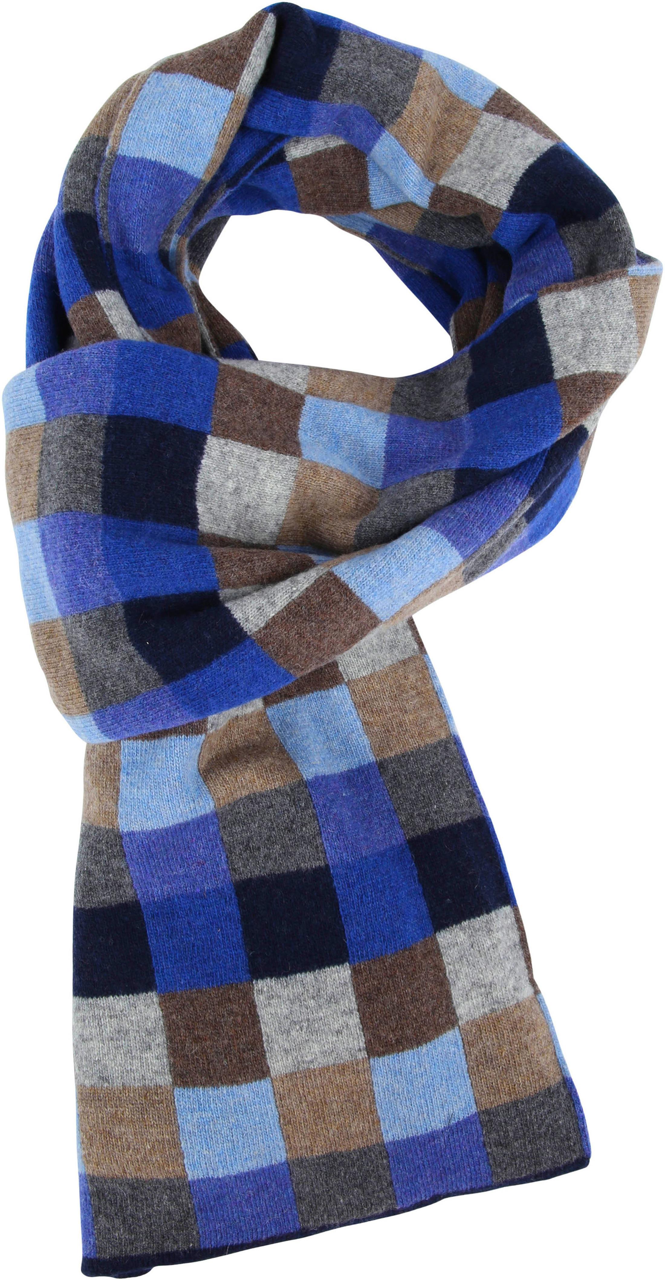 Profuomo Blau Karo Schal Wolle