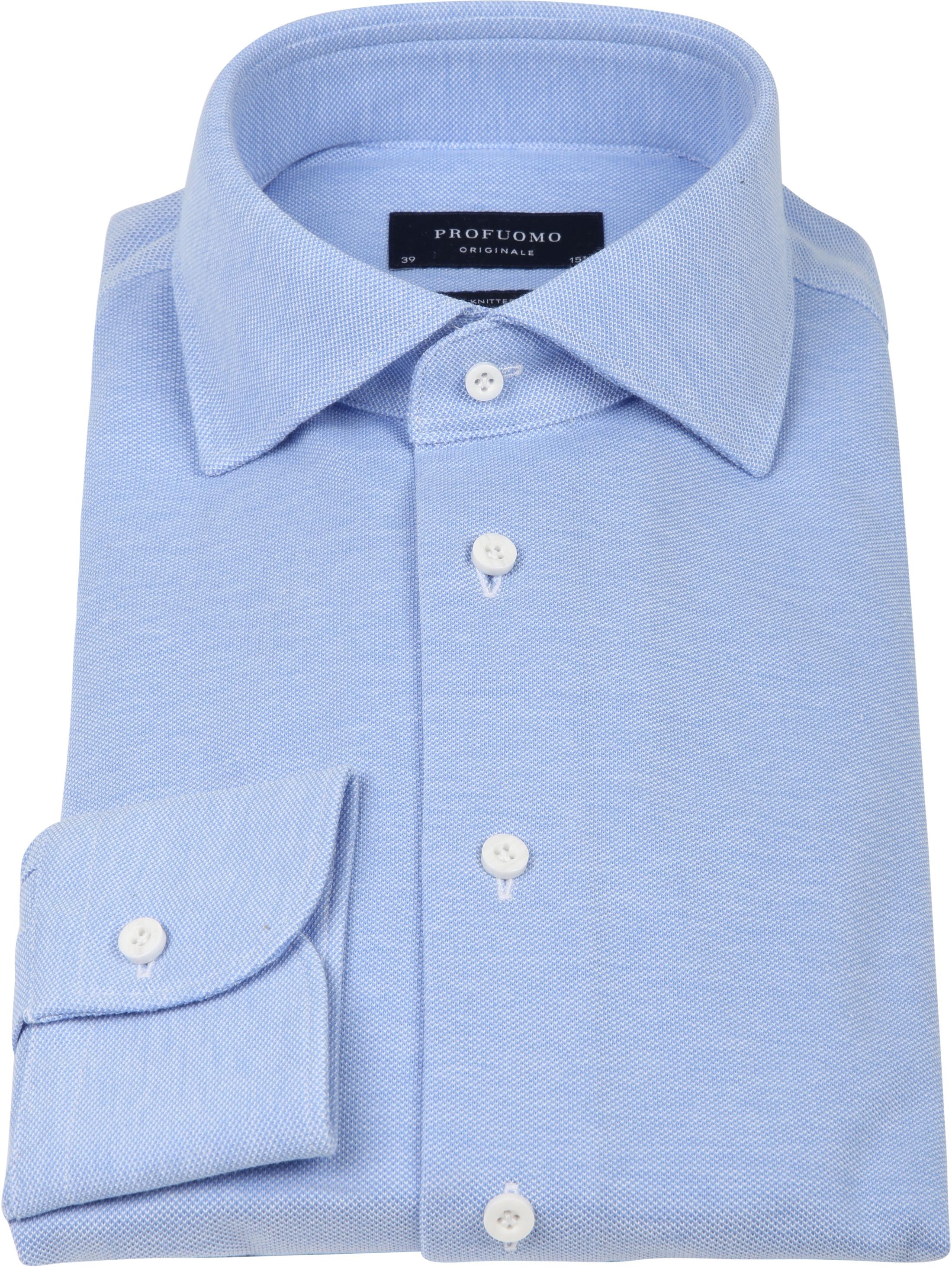 Profuomo Hemd Knitted Slim Fit Blau Foto 2