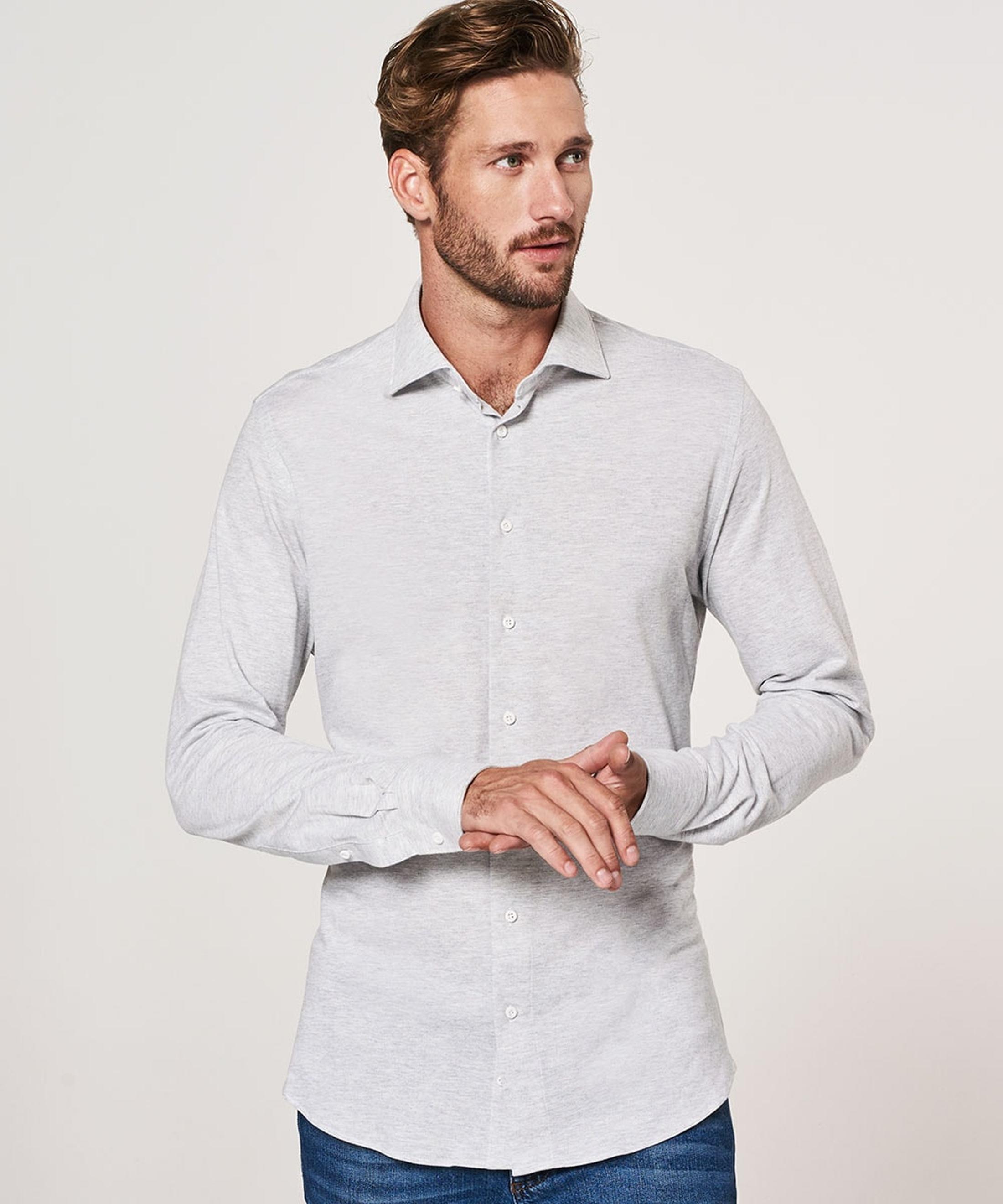 Profuomo Hemd Knitted Slim Fit Grau Foto 4