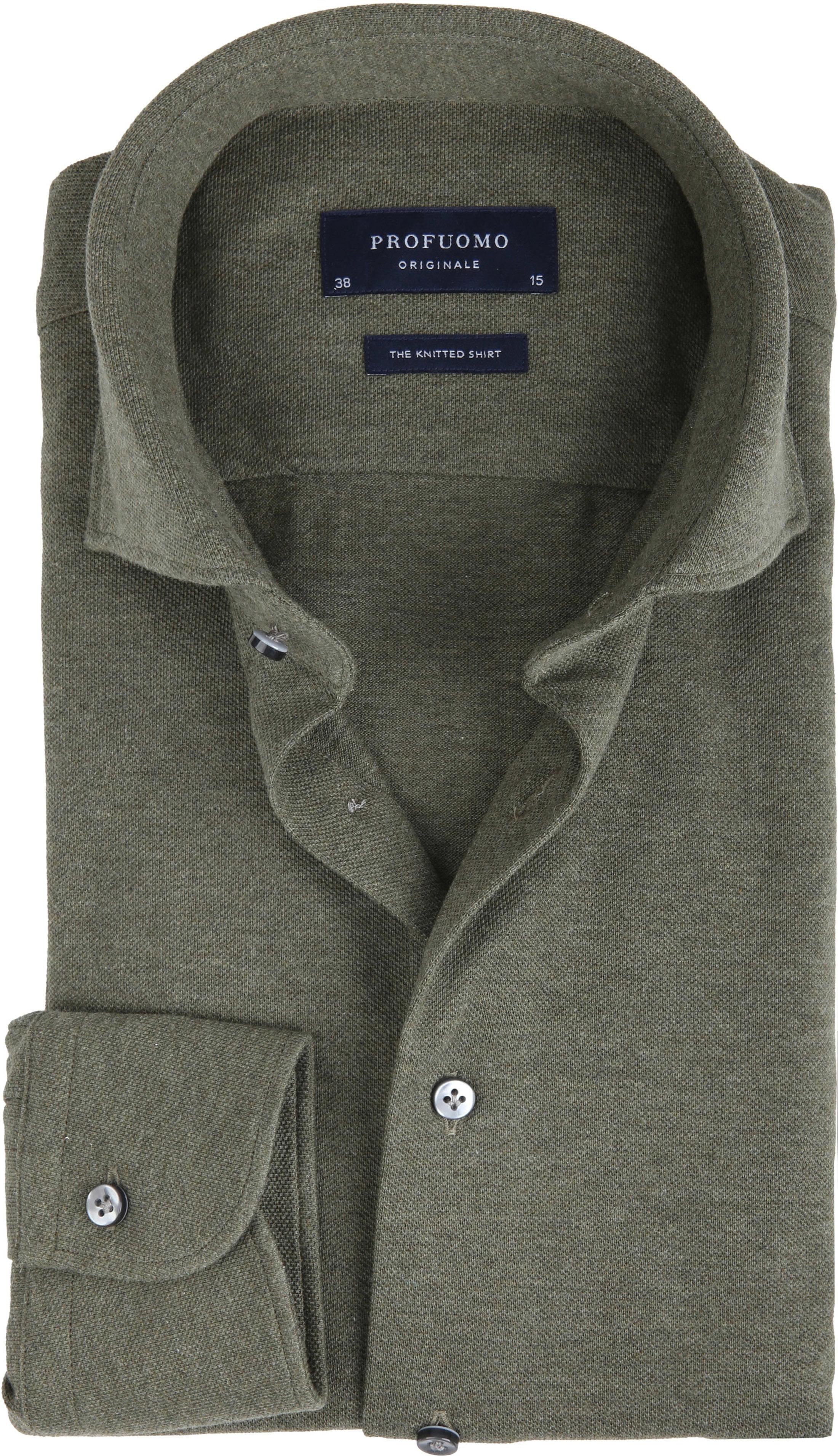Profuomo Hemd Knitted Slim Fit Grün