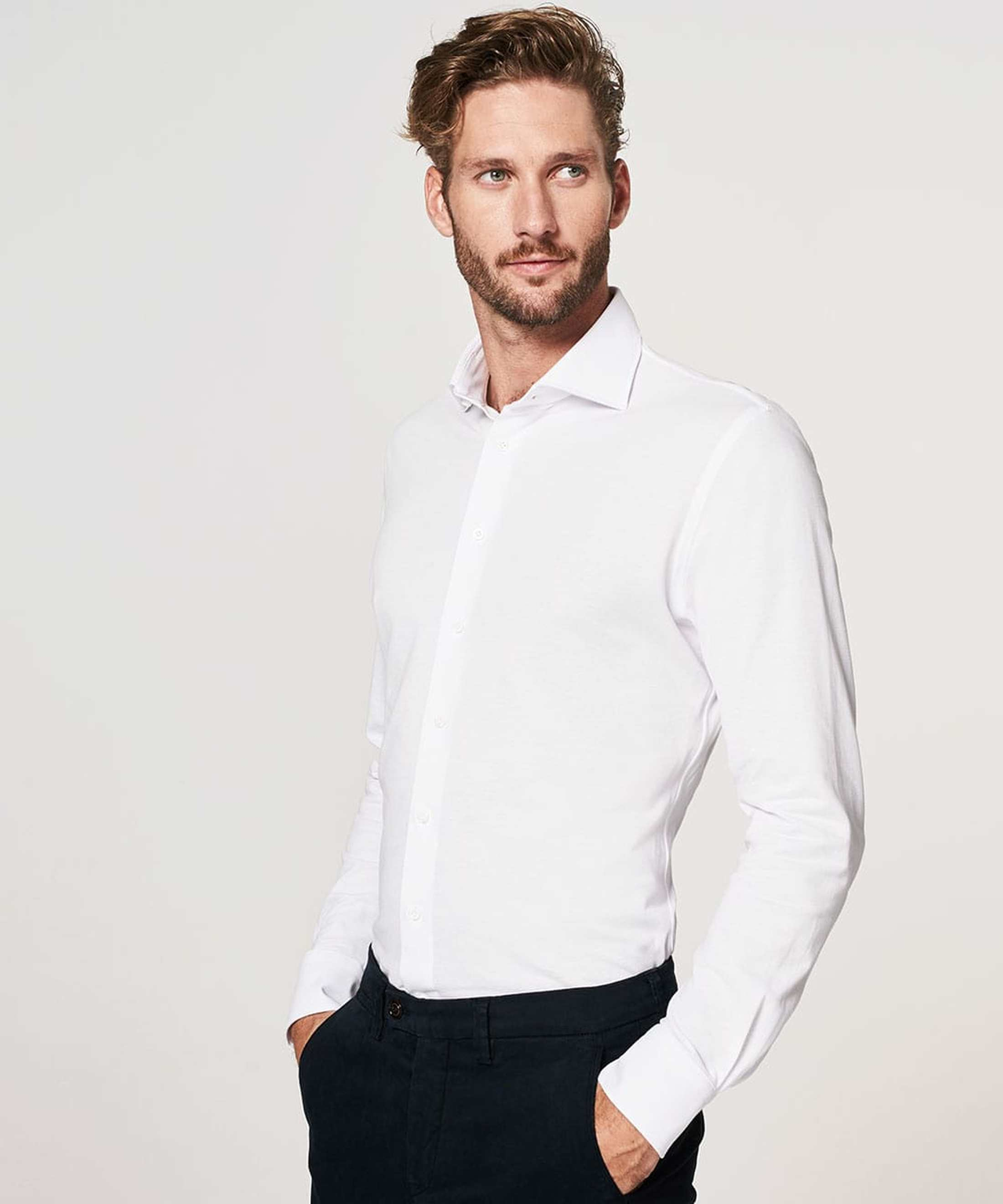 Profuomo Hemd Weiss Knitted WS Foto 4