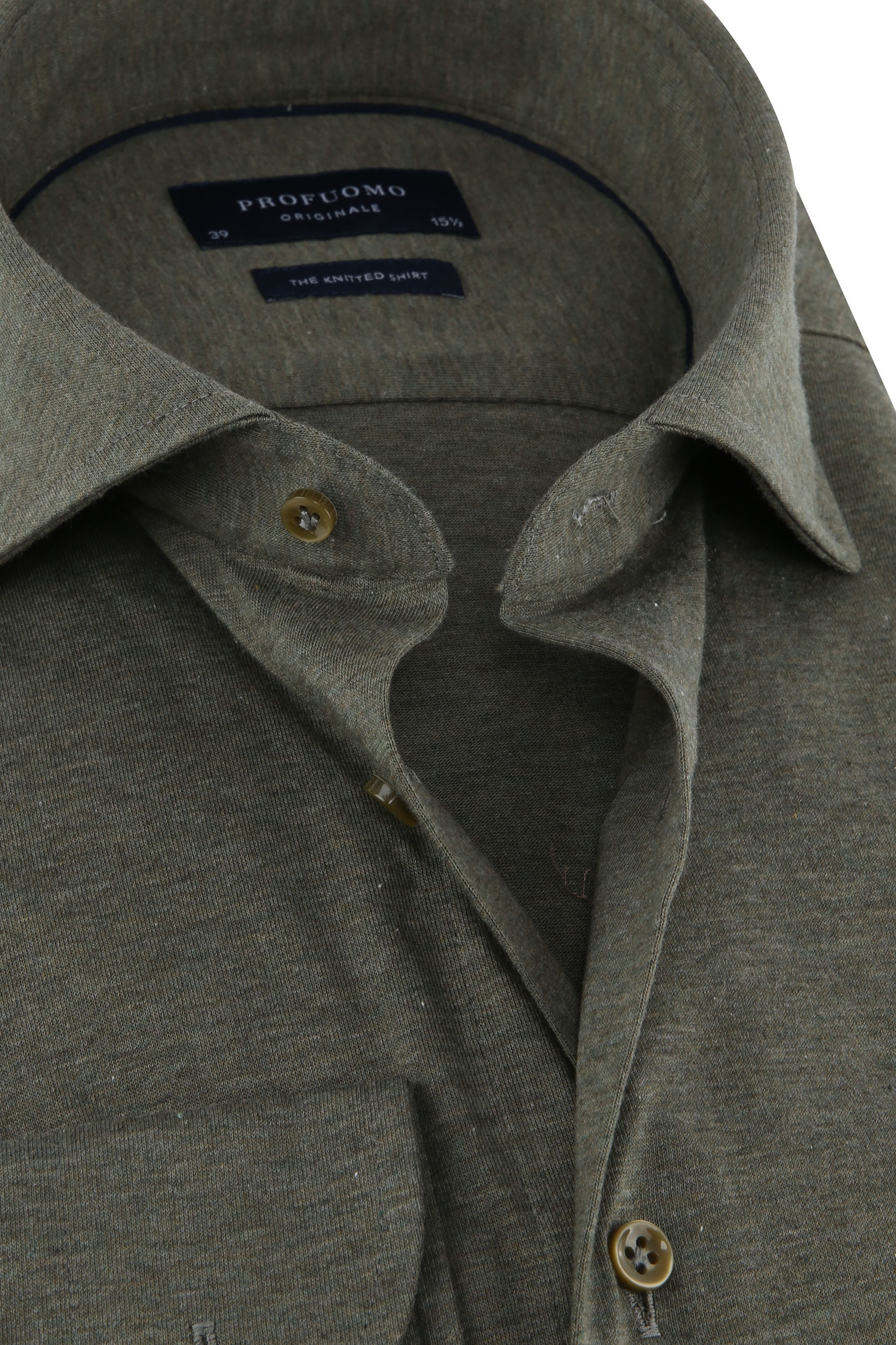 Profuomo Knitted Jersey Hemd Groen