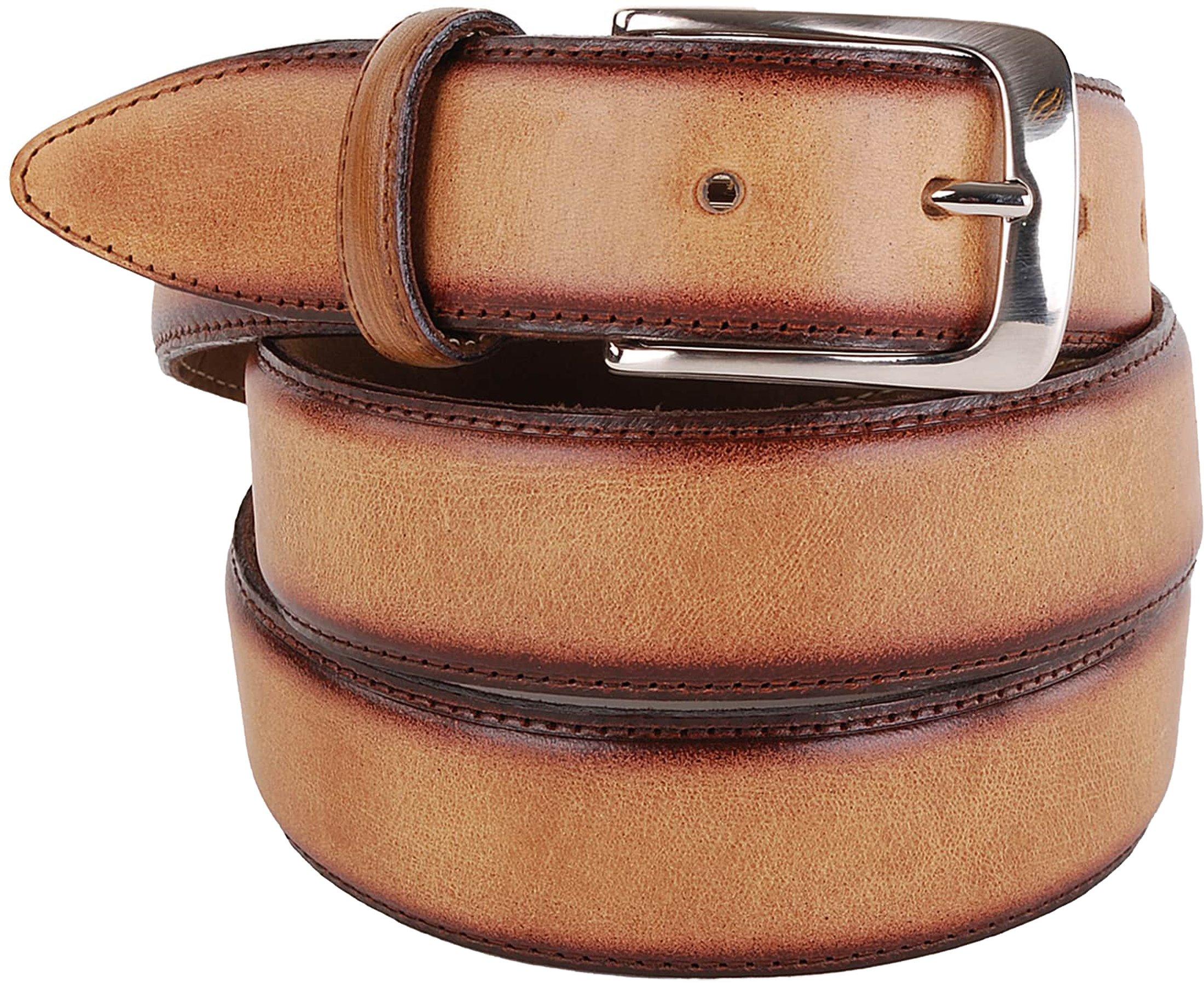 Profuomo Leather Belt Polish Camel