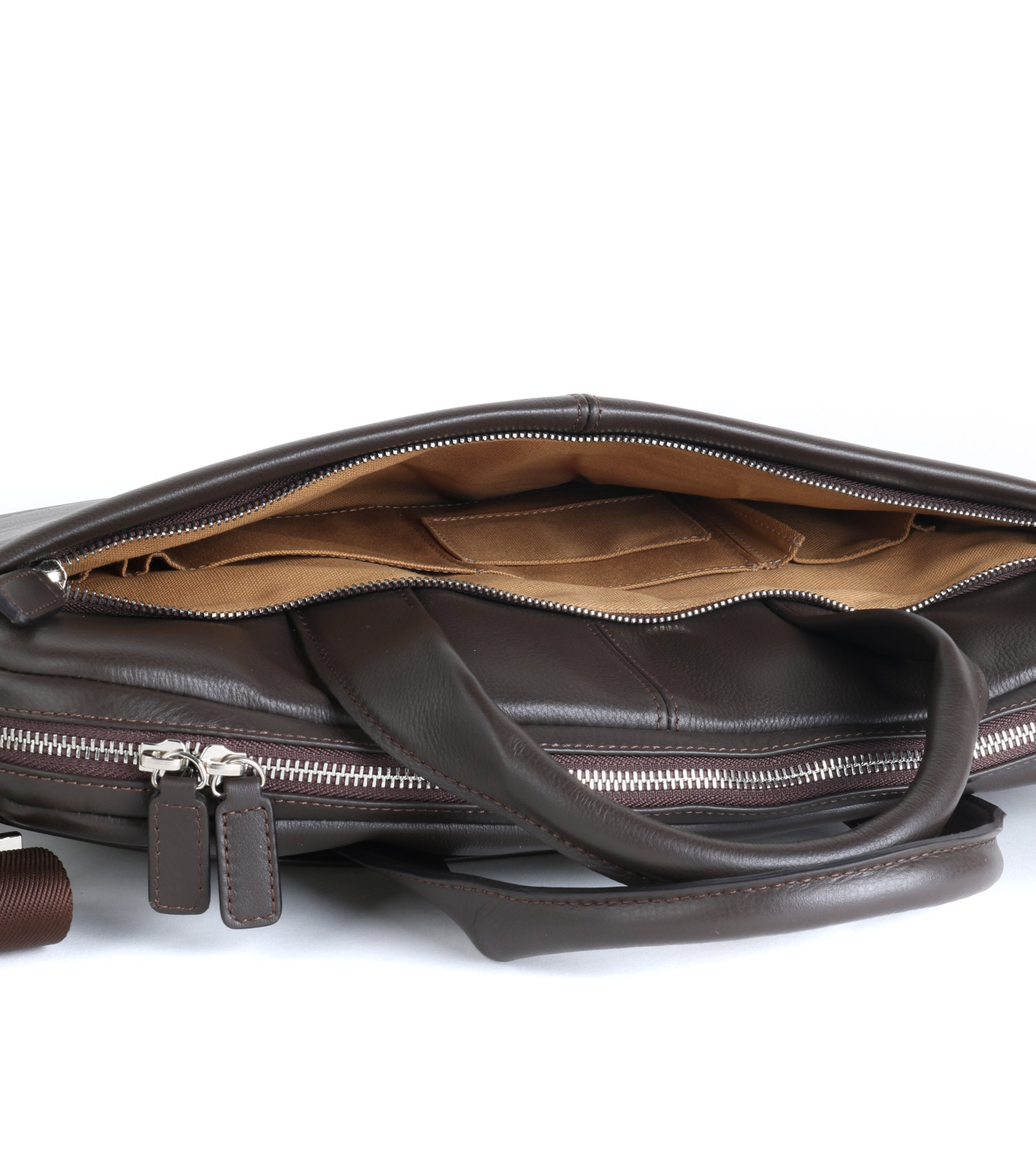 Profuomo Leather Laptop Bag Brown