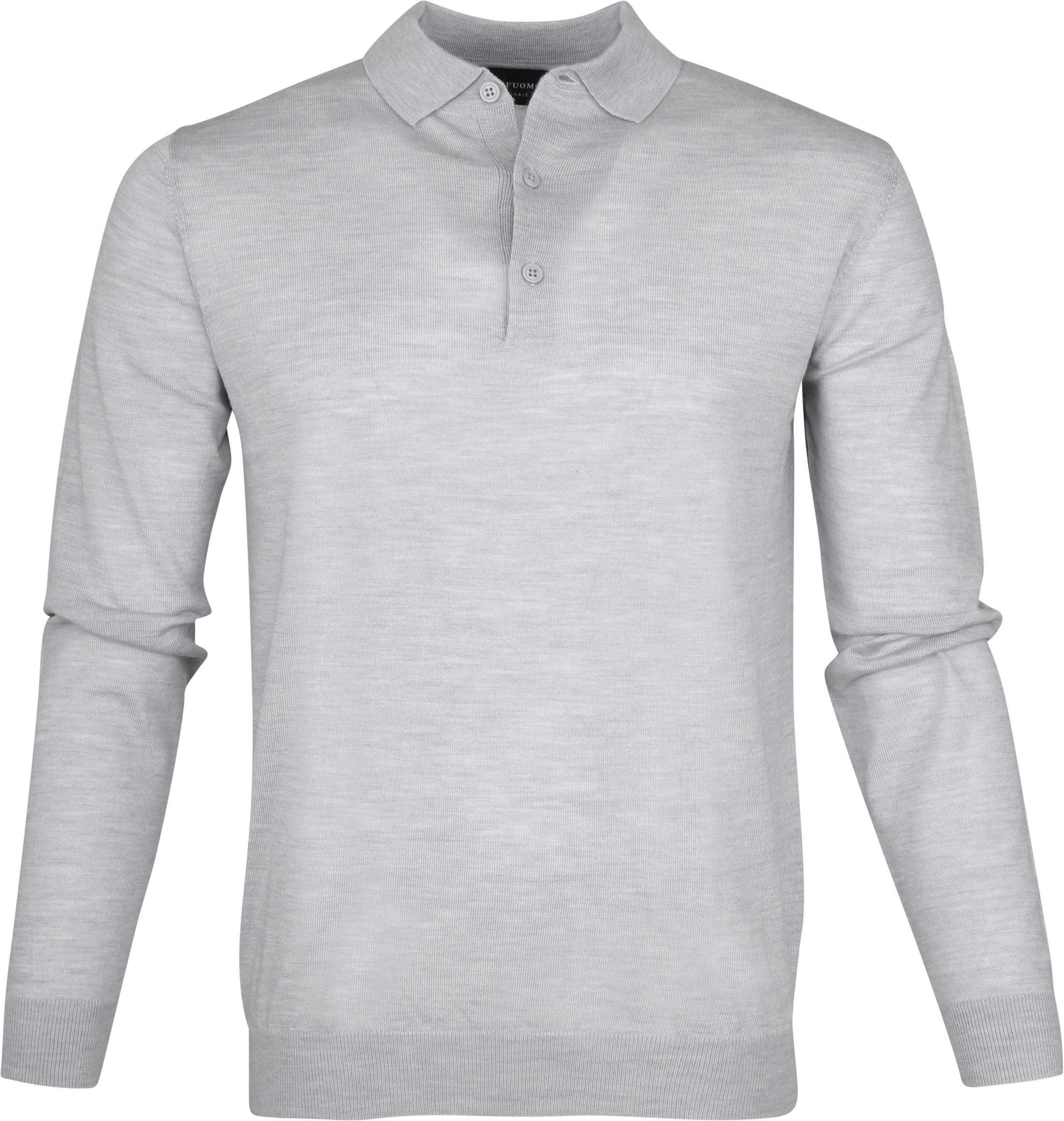 Profuomo Longsleeve Poloshirt Grey foto 0