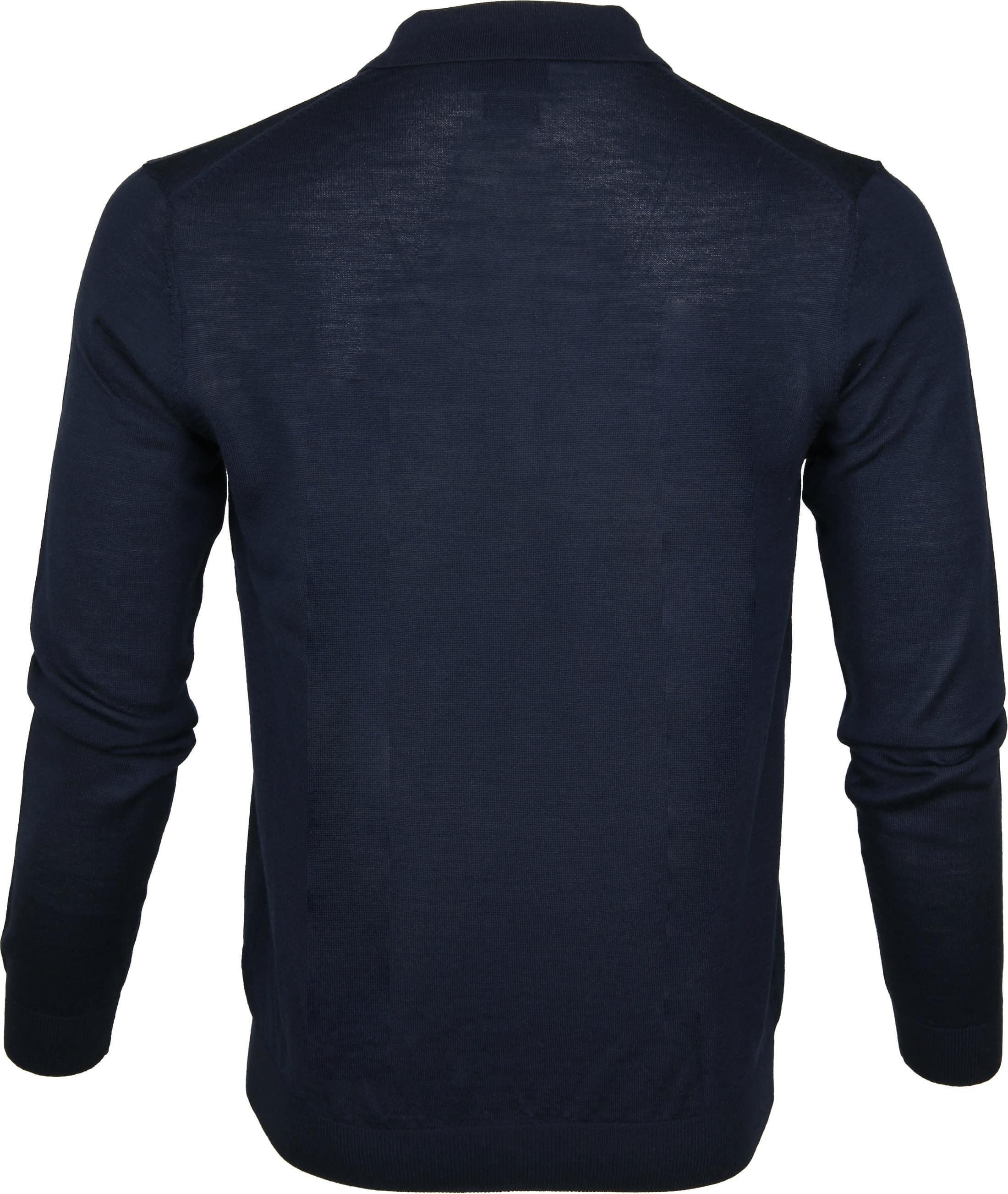 Profuomo Longsleeve Poloshirt Navy foto 3