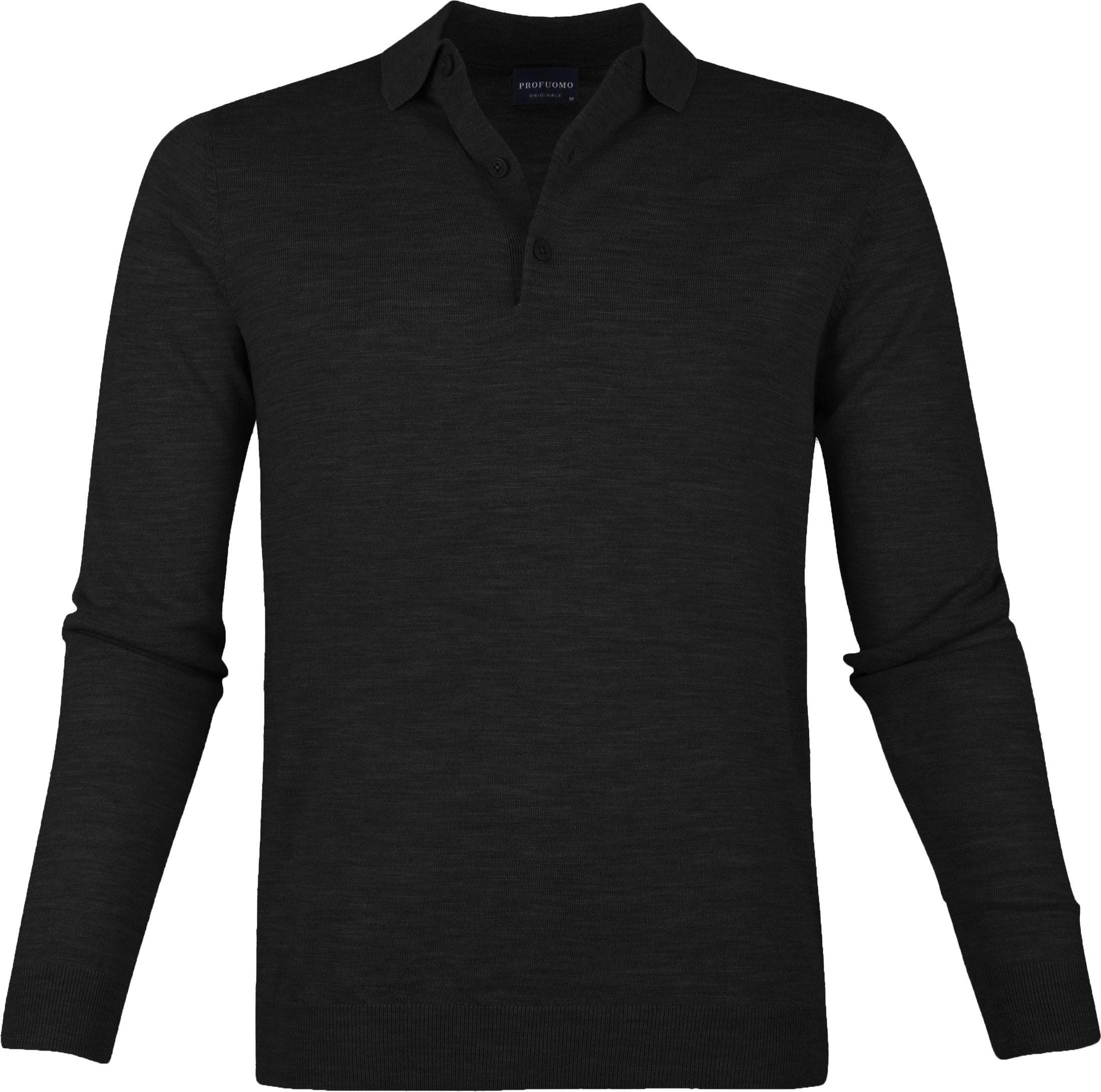 Profuomo Merino Poloshirt Black foto 0