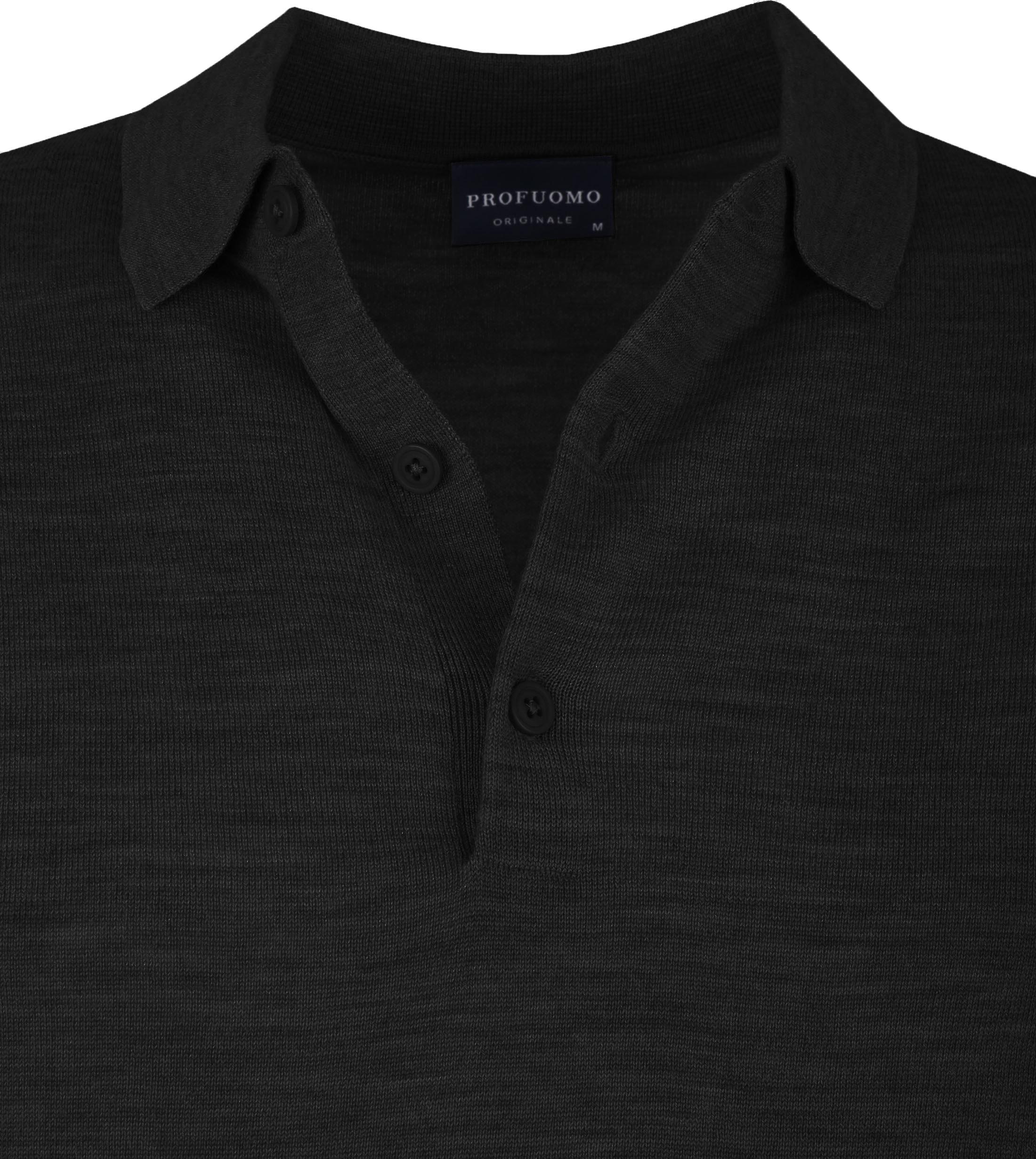 Profuomo Merino Poloshirt Black foto 1