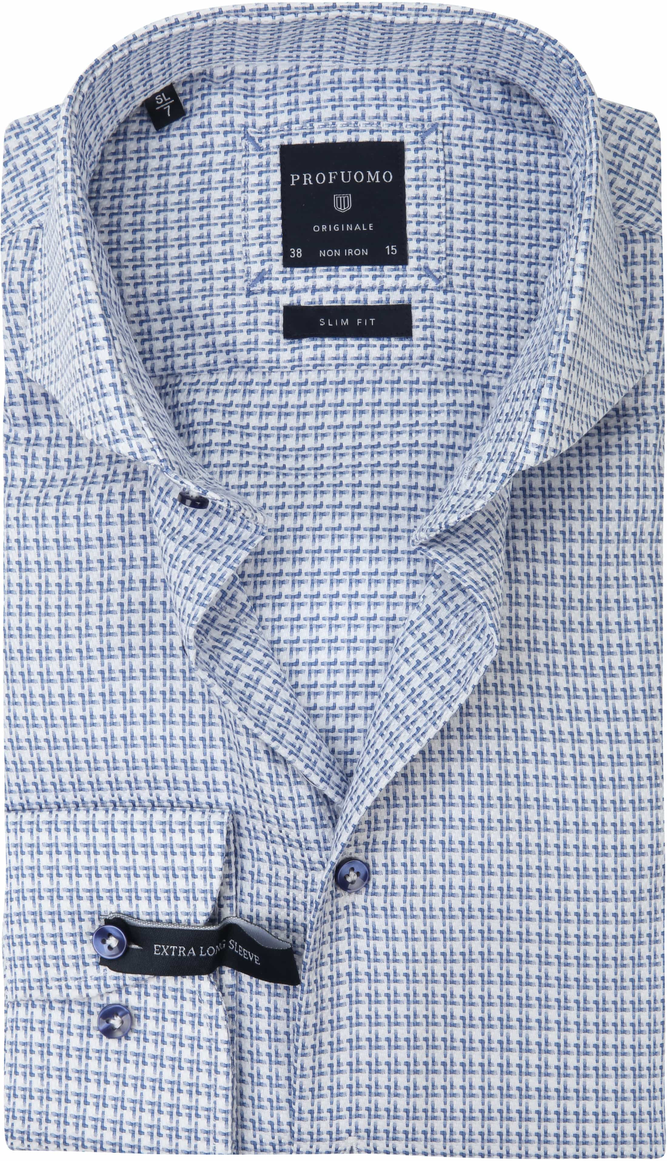 Profuomo Overhemd Blauw Dessin SL7 foto 0