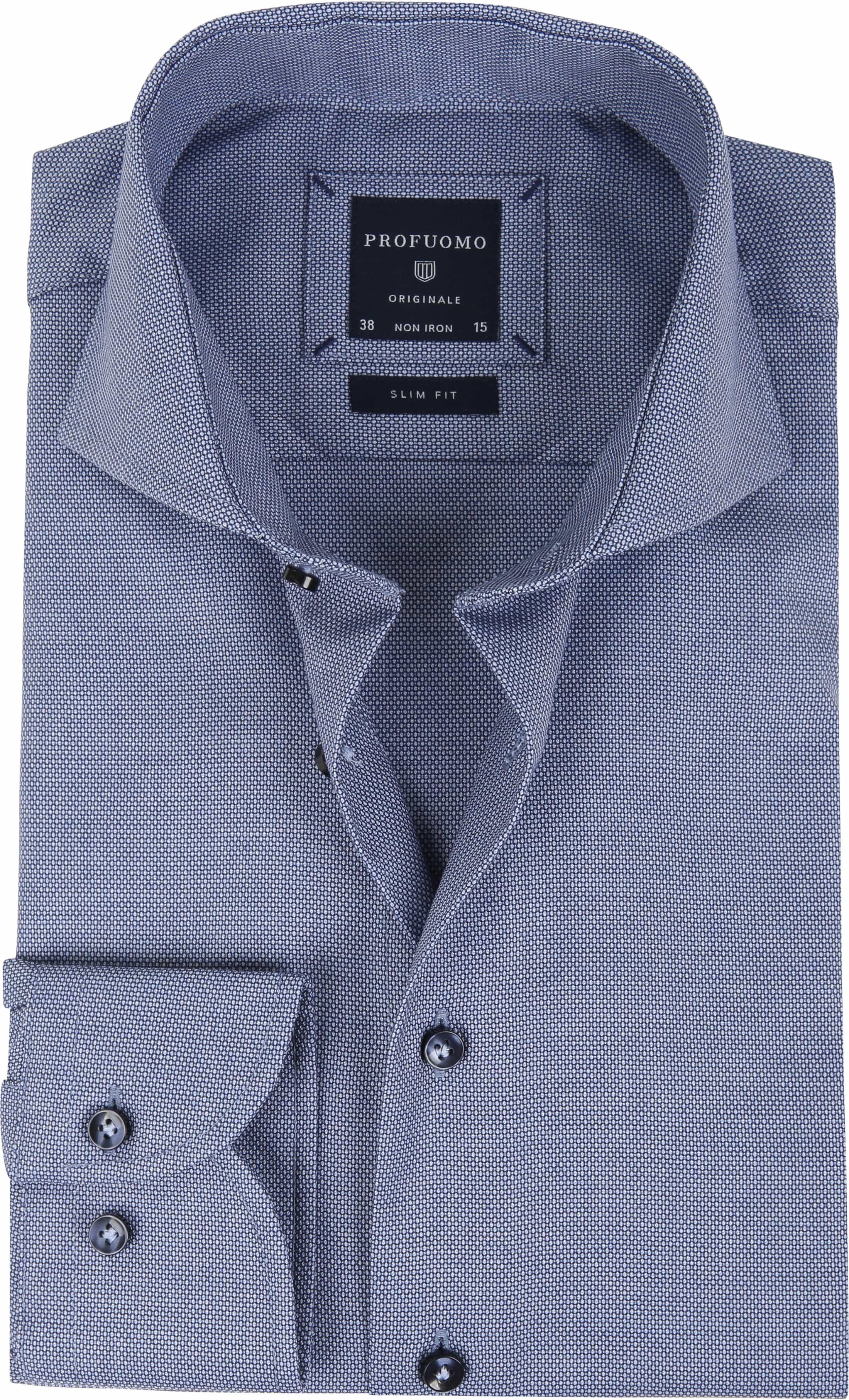 Profuomo Overhemd Blauw SF Dessin foto 0