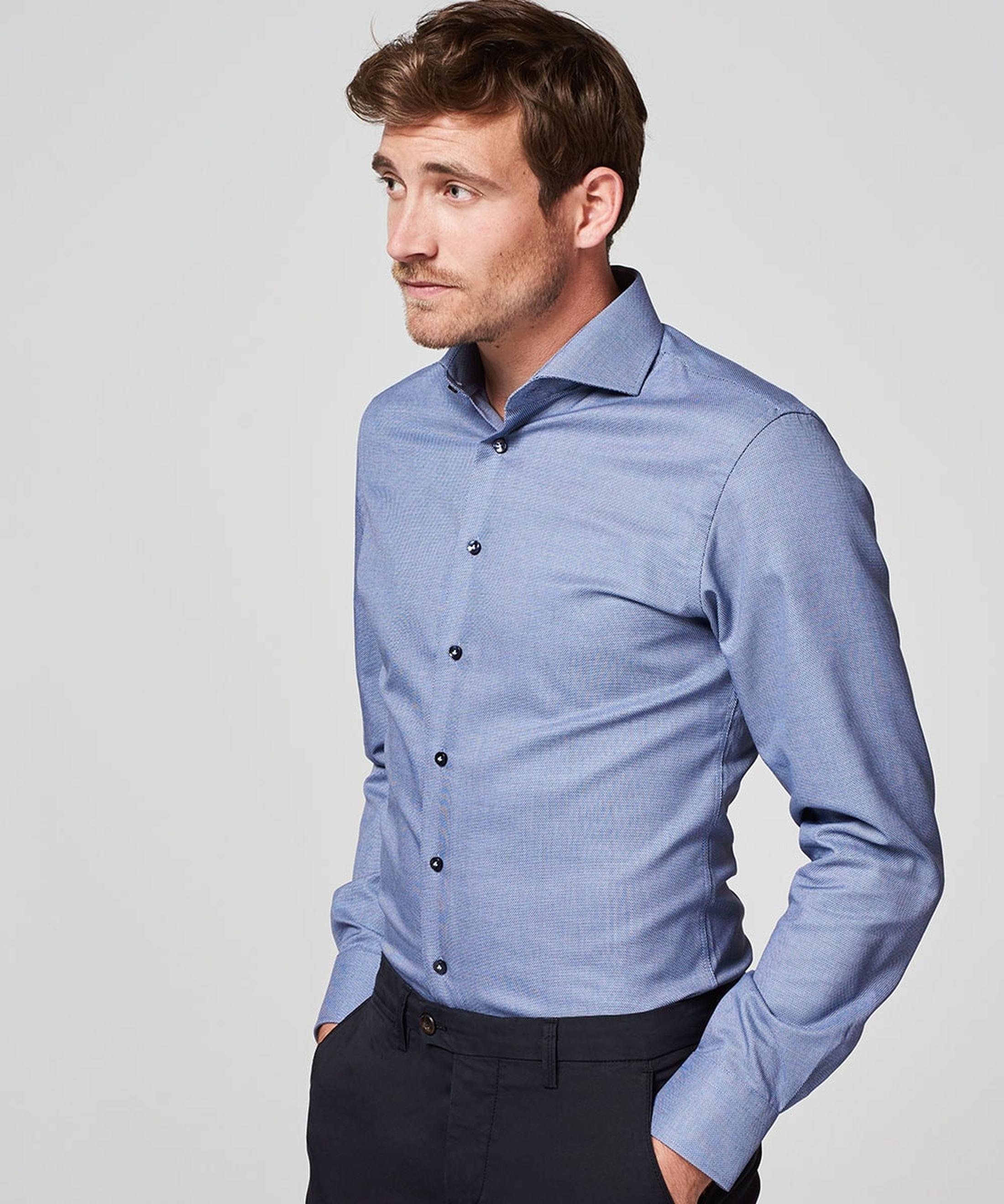 Profuomo Overhemd Blauw SF Dessin foto 4