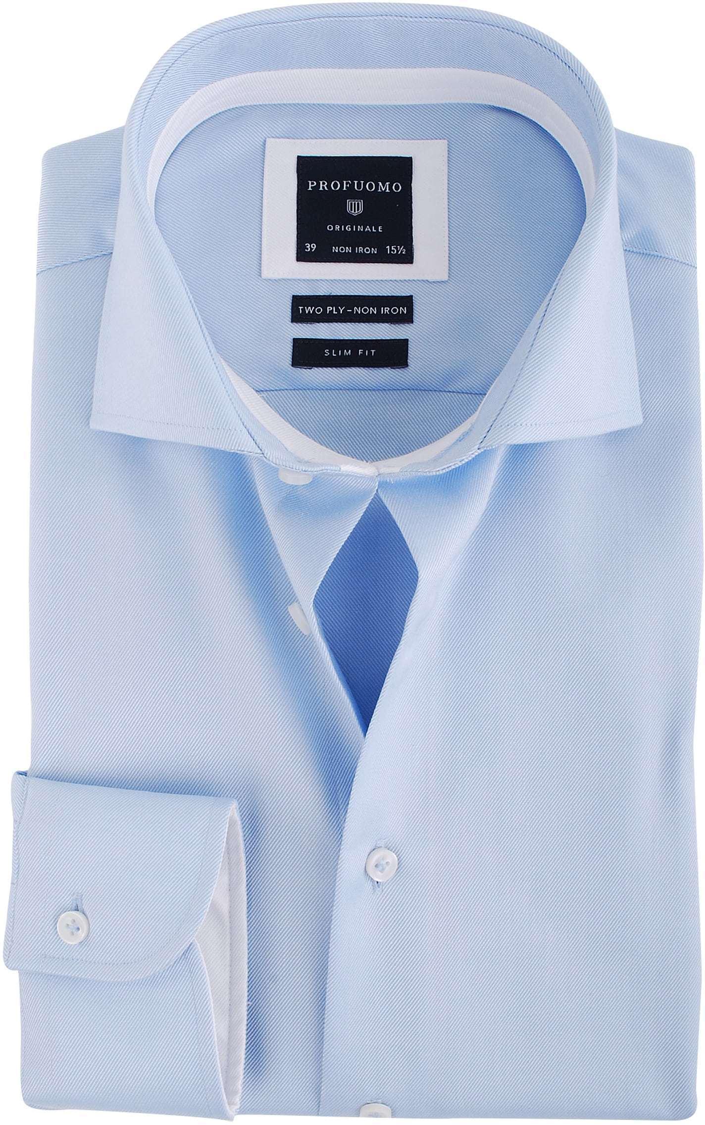 Profuomo Overhemd Blauw + Wit Contrast foto 0