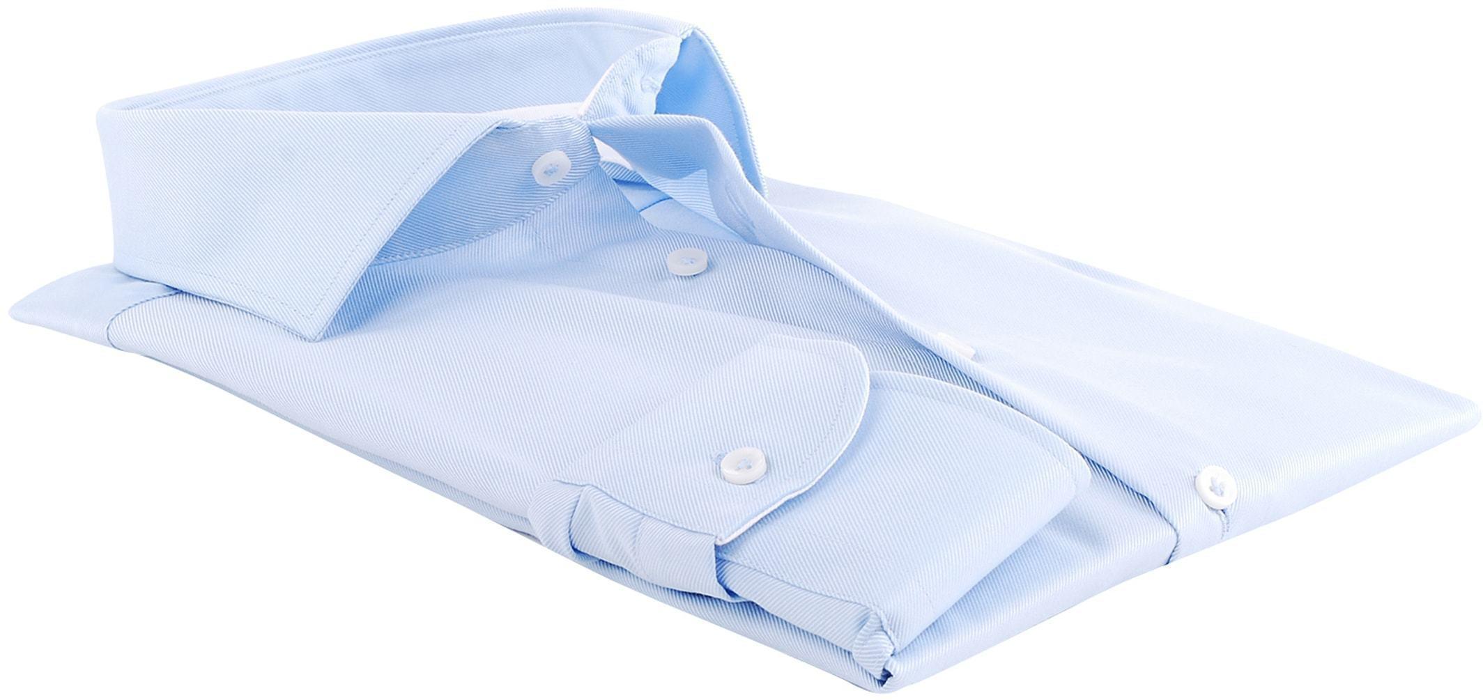 Profuomo Overhemd Blauw + Wit Contrast foto 1