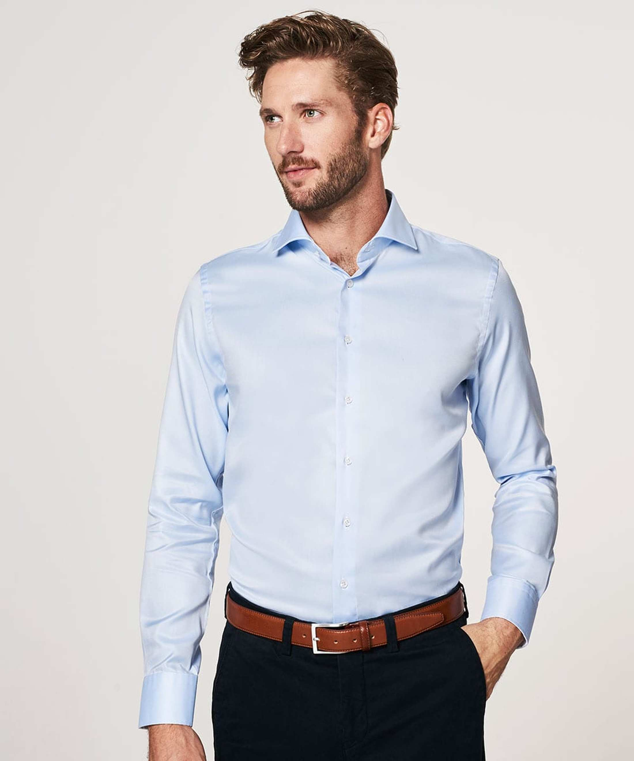 Profuomo Overhemd Blauw + Wit Contrast foto 3